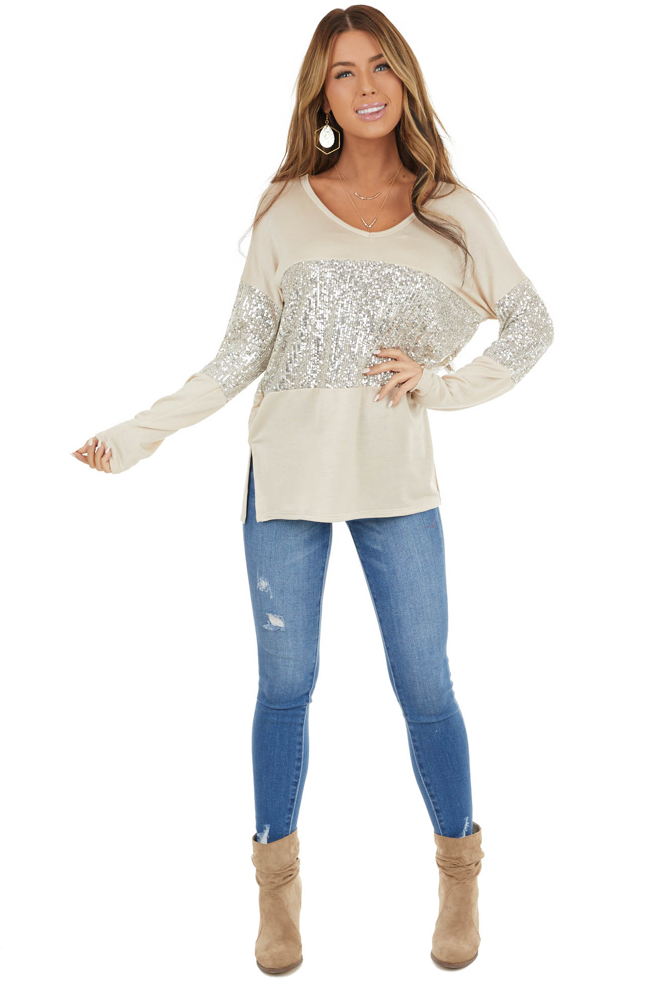 Beige Sequined Colorblock Long Sleeve Top with Side Slits