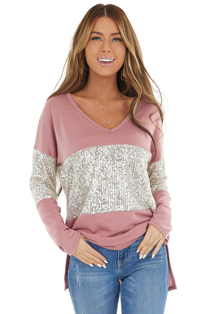 Mauve Sequined Colorblock Long Sleeve Top with Side Slits