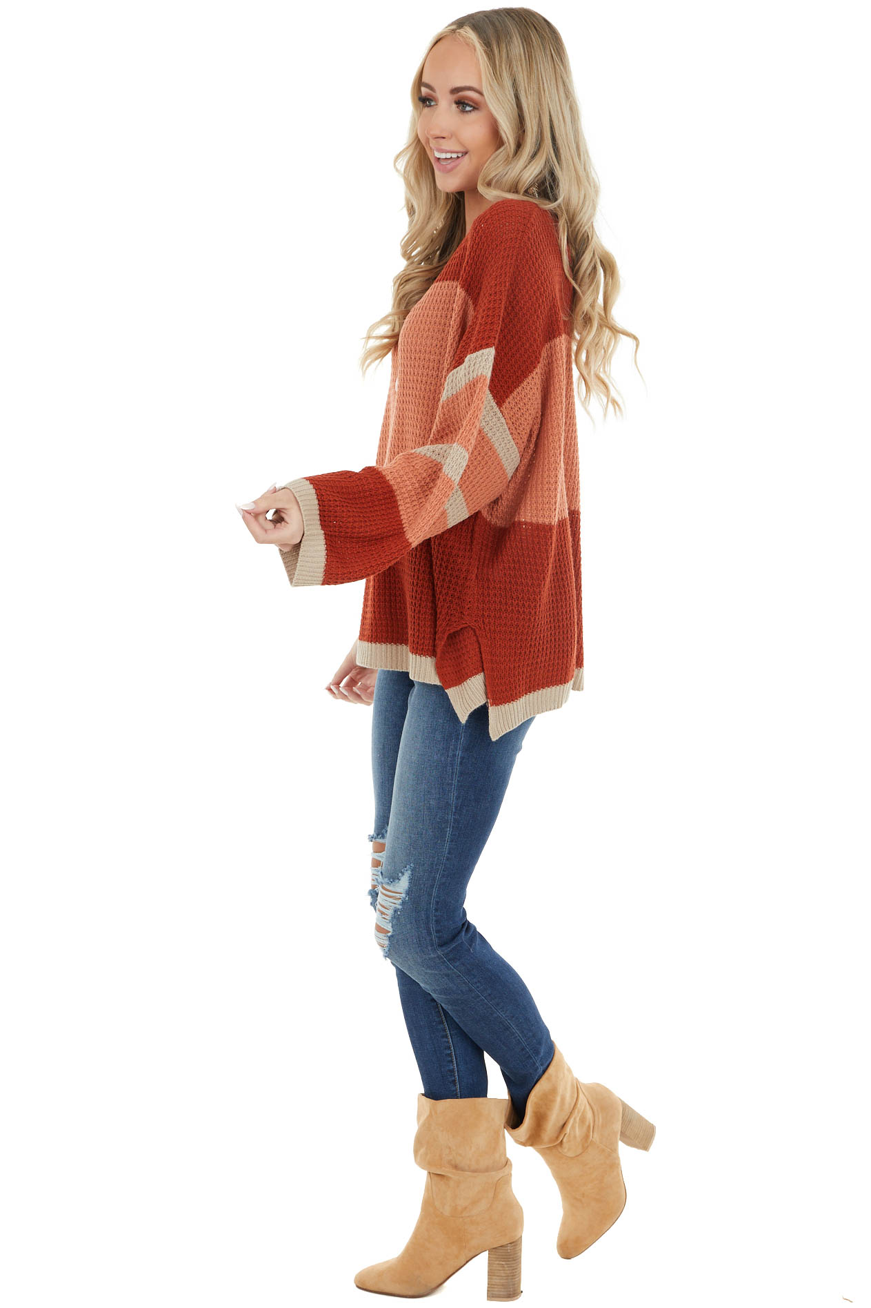 Rust Colorblock Lightweight Sweater with Side Slits