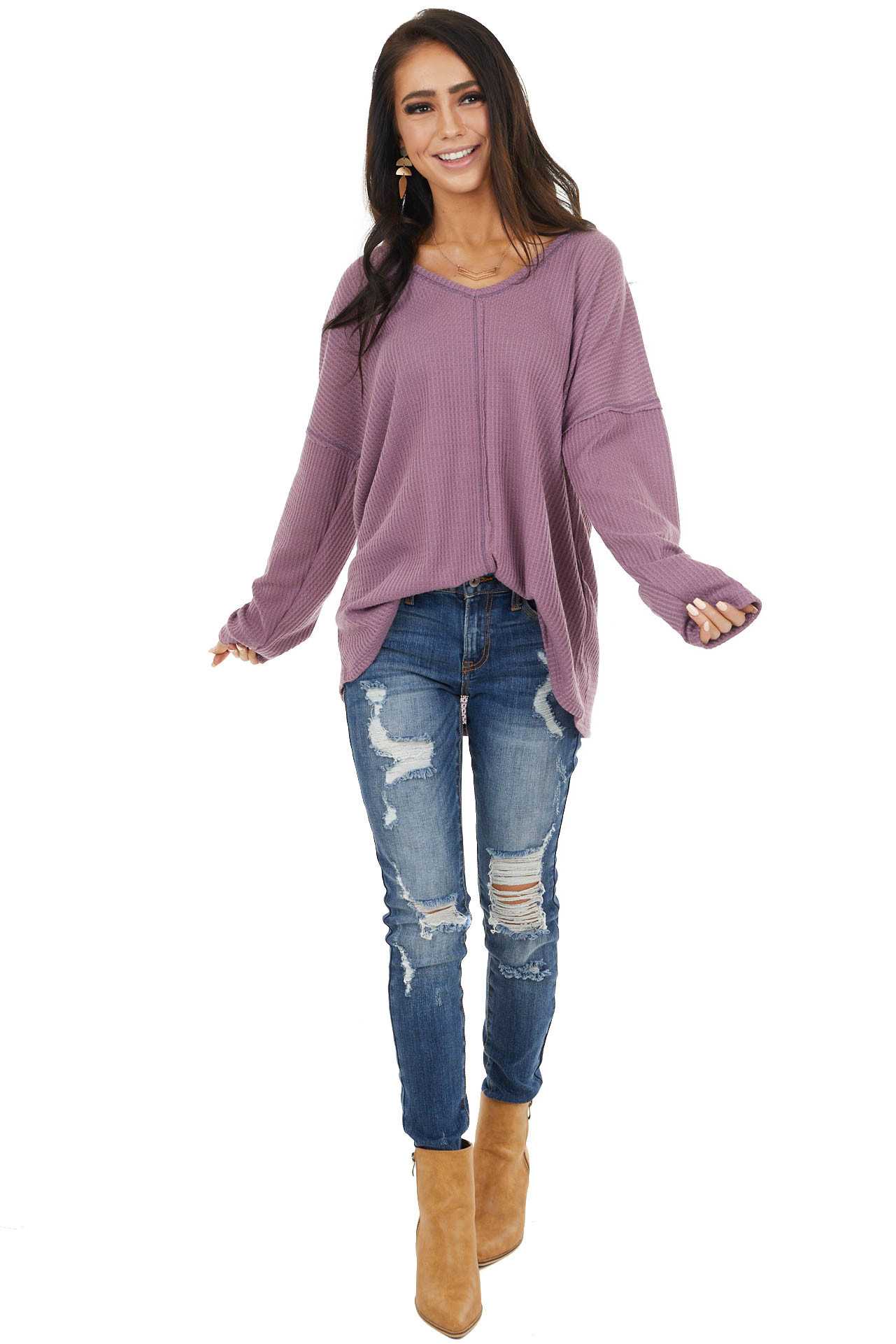 Deep Lavender Long Sleeve Waffle Knit Top with V Neckline
