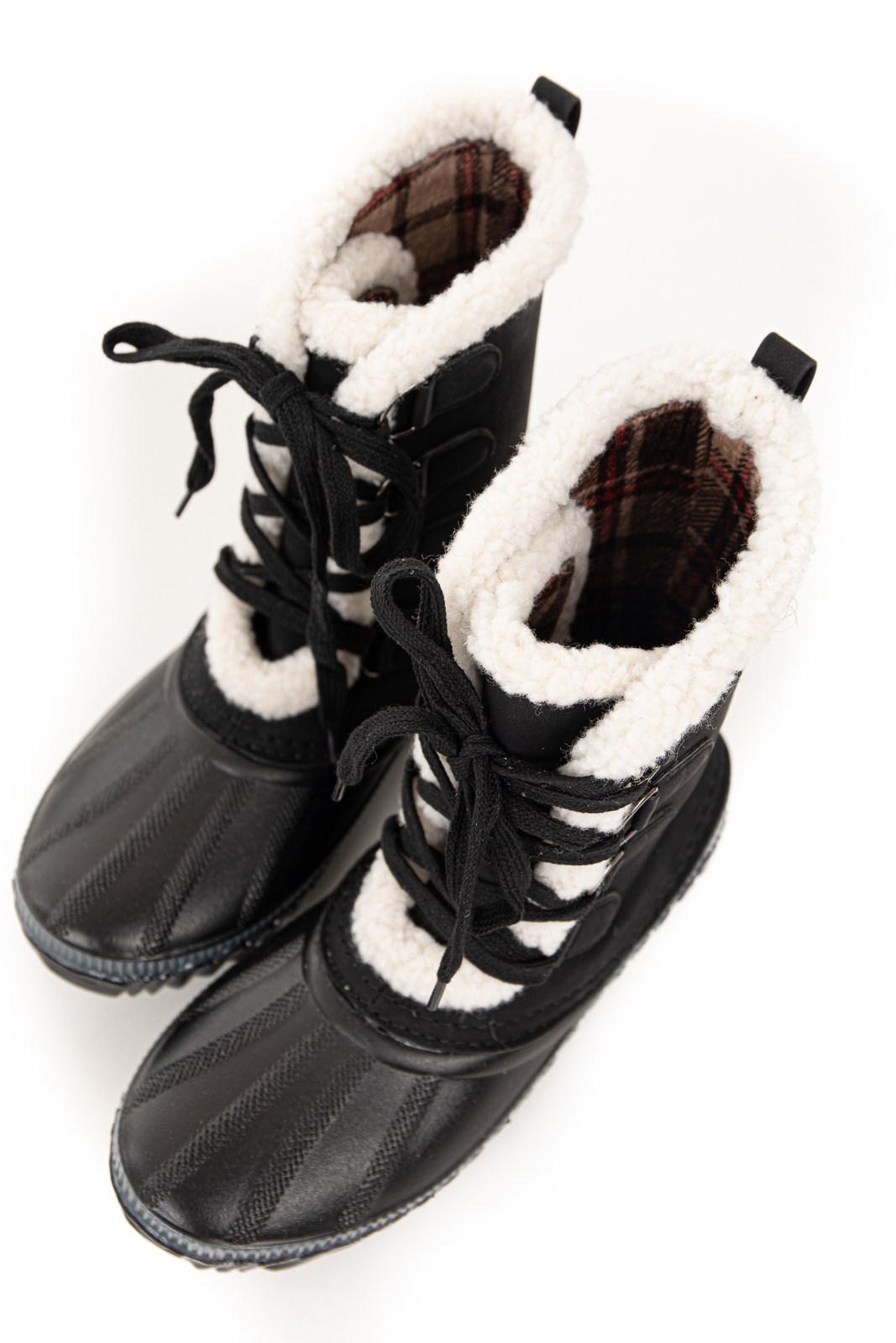 Black Lace Up Snow Boots with Plaid and Faux Fur Lining