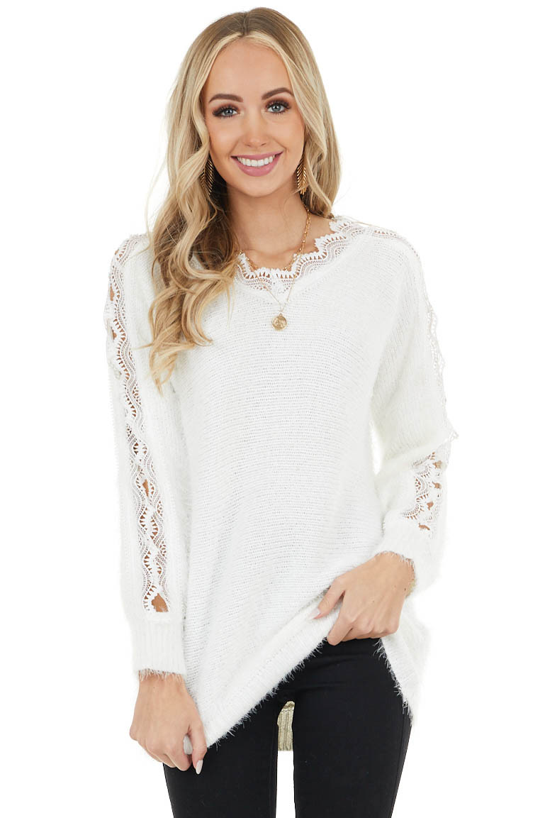 Ivory V Neck Long Sleeve Fuzzy Sweater with Lace Detail