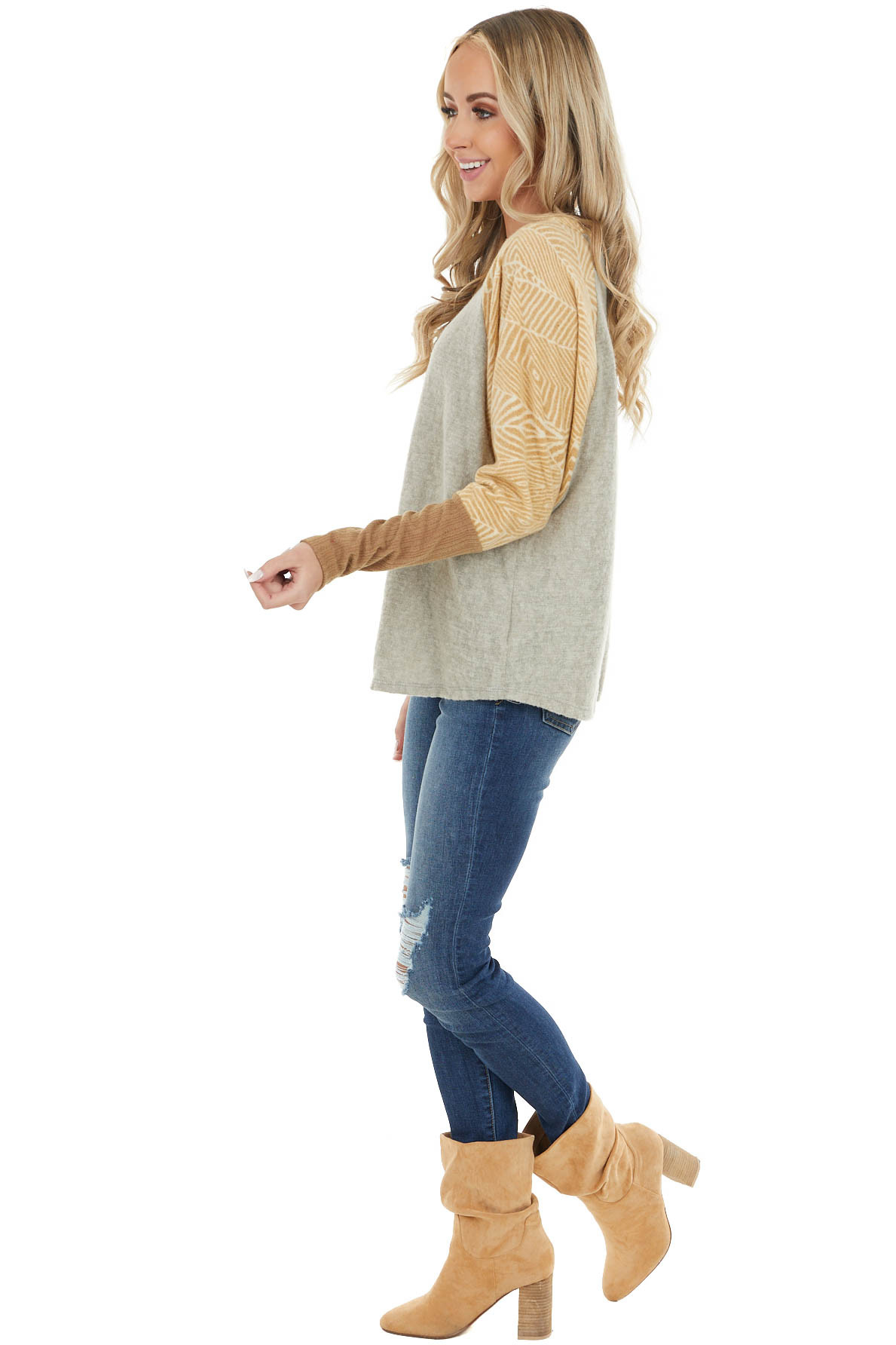 Khaki Soft Knit Top with Printed Dolman Raglan Sleeves