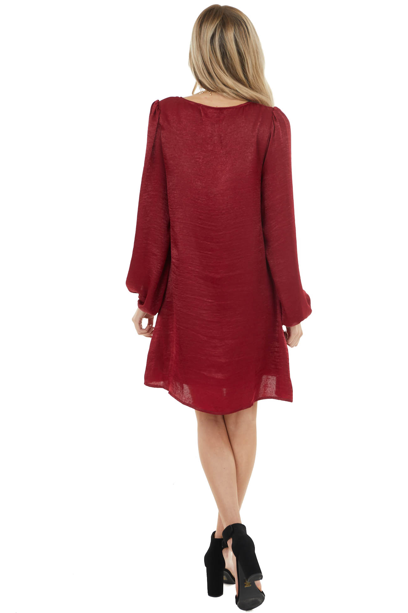 Burgundy Satin Relaxed Fit Dress with Long Bubble Sleeves