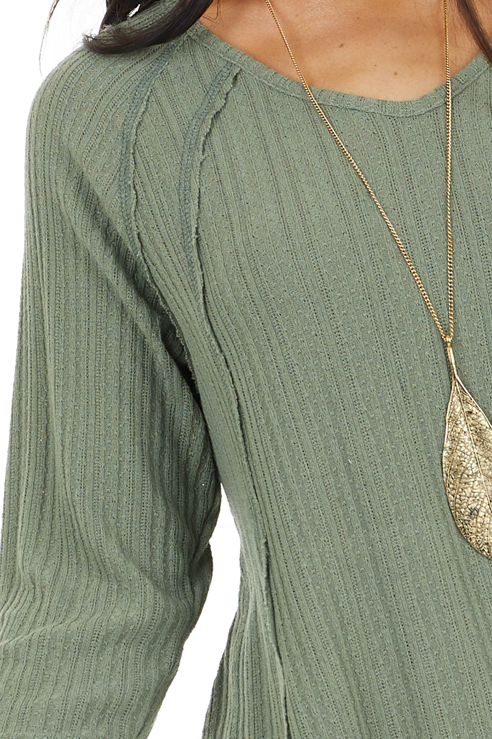 Olive Long Sleeve Textured Knit Tunic Top with Raw Edges