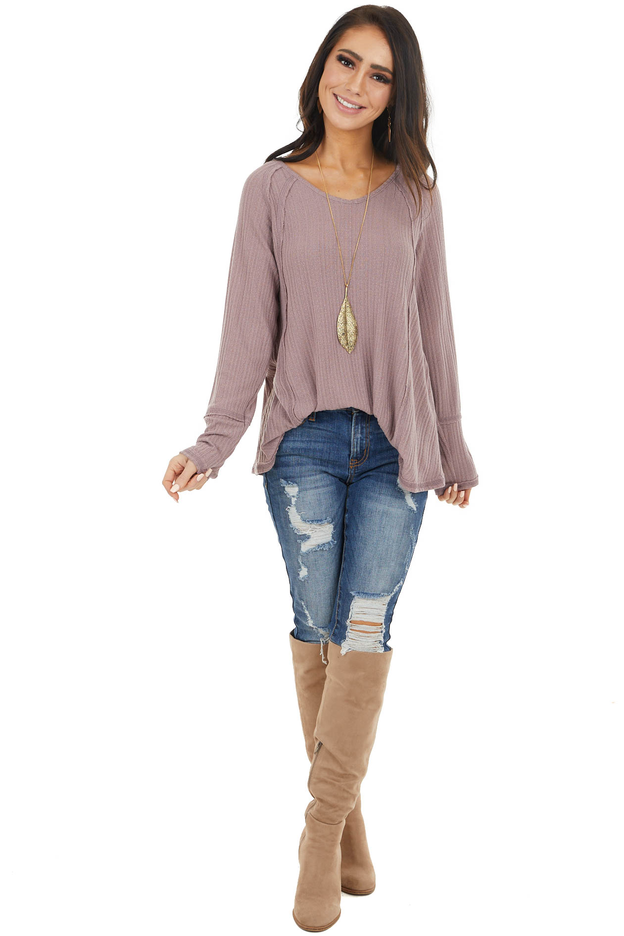 Mauve Long Sleeve Textured Knit Tunic Top with Raw Edges