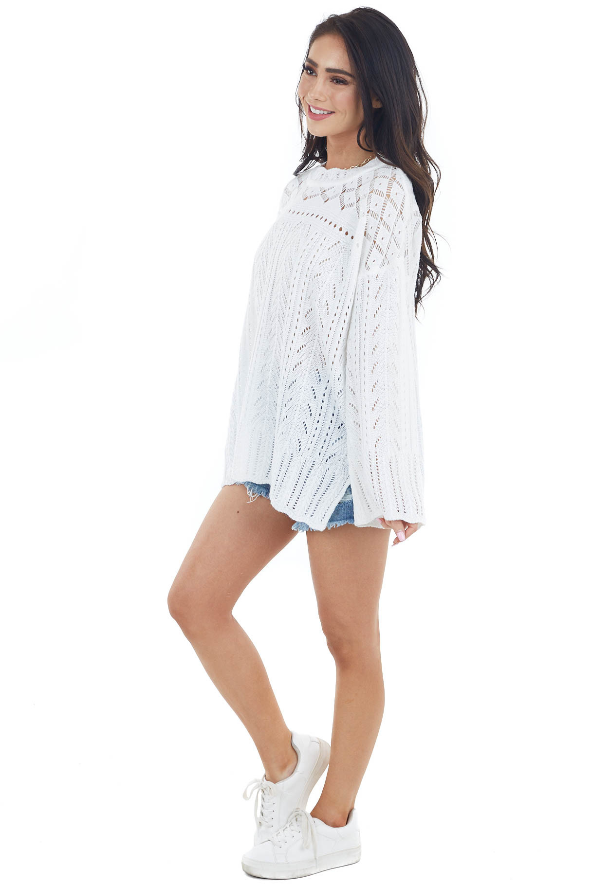 Ivory Crochet Knit Bell Sleeve Lightweight Sweater