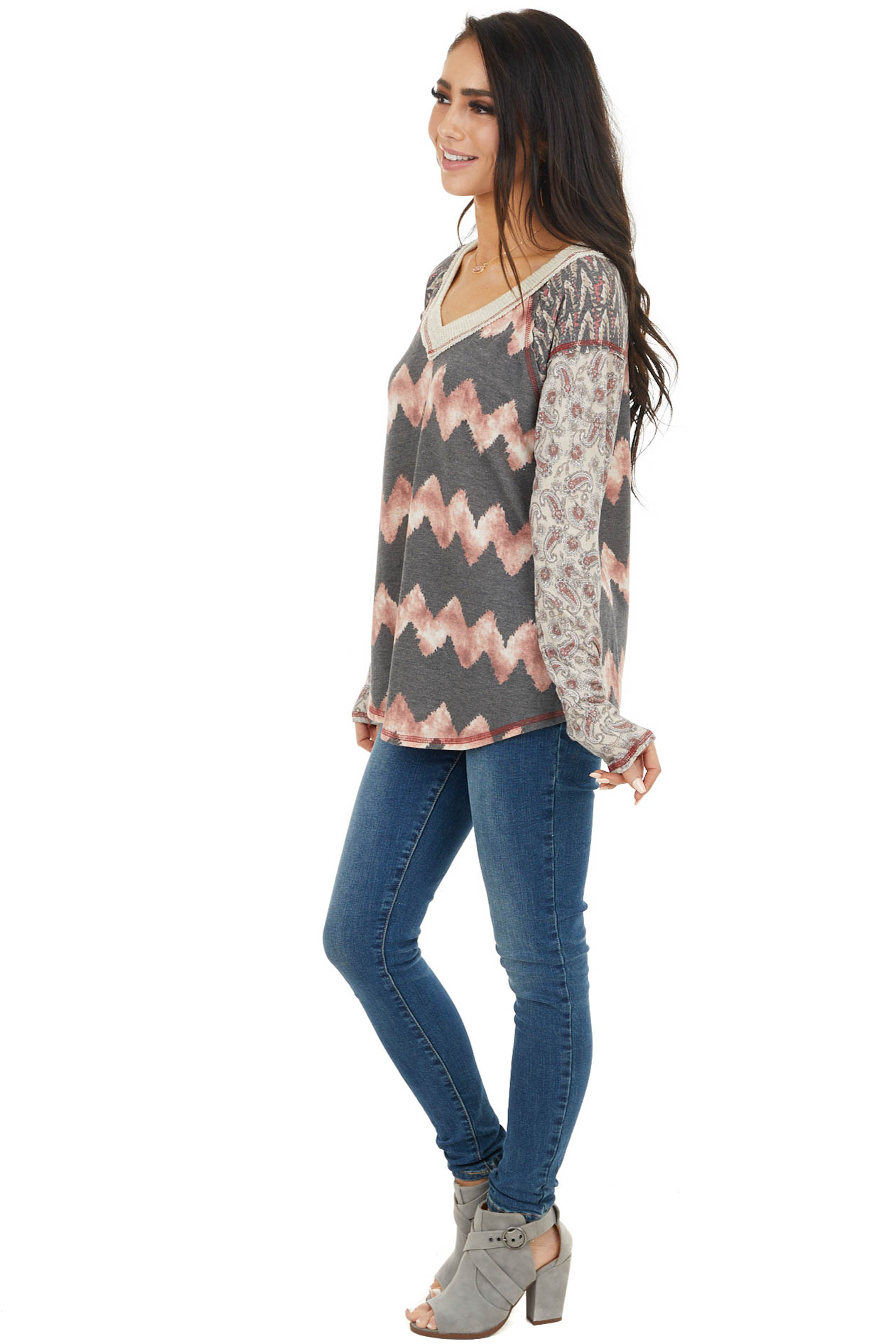 Charcoal Long Sleeve Multiprint Top with Raw Edge Detail