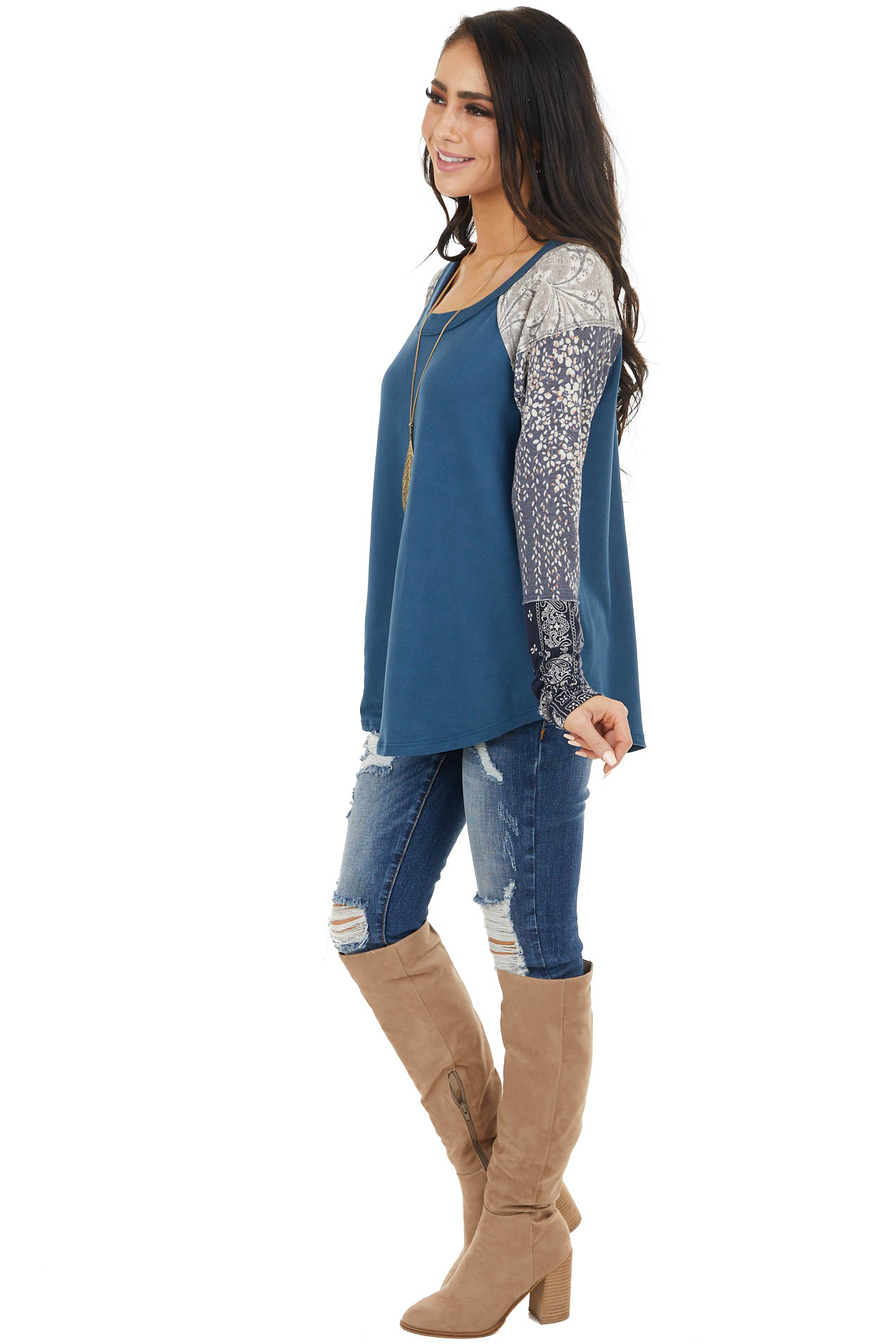 Ocean Multiprint Long Sleeve Knit Top with Raw Edge Detail