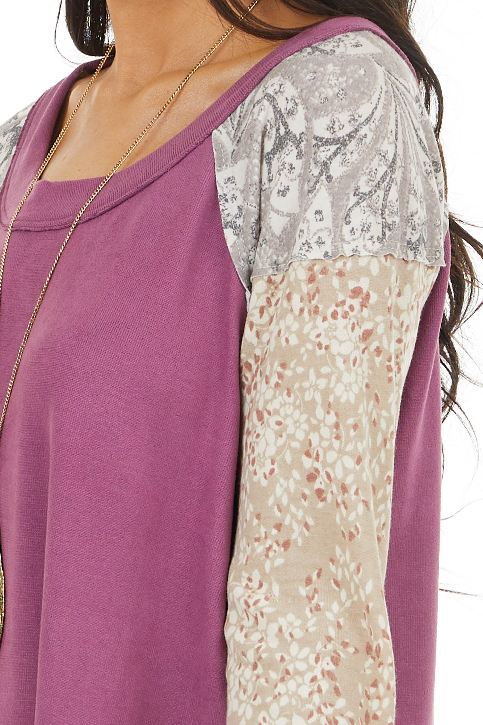 Plum Multiprint Long Sleeve Knit Top with Raw Edge Detail