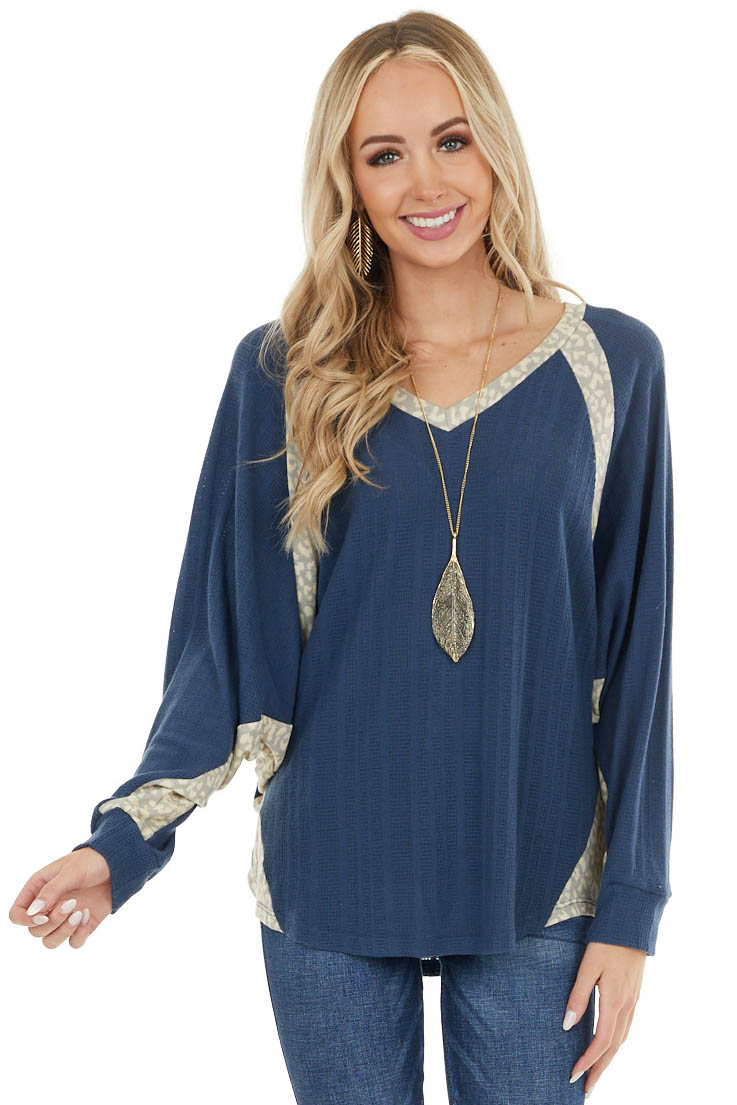 Faded Navy Textured Dolman Sleeve Top with Leopard Contrast