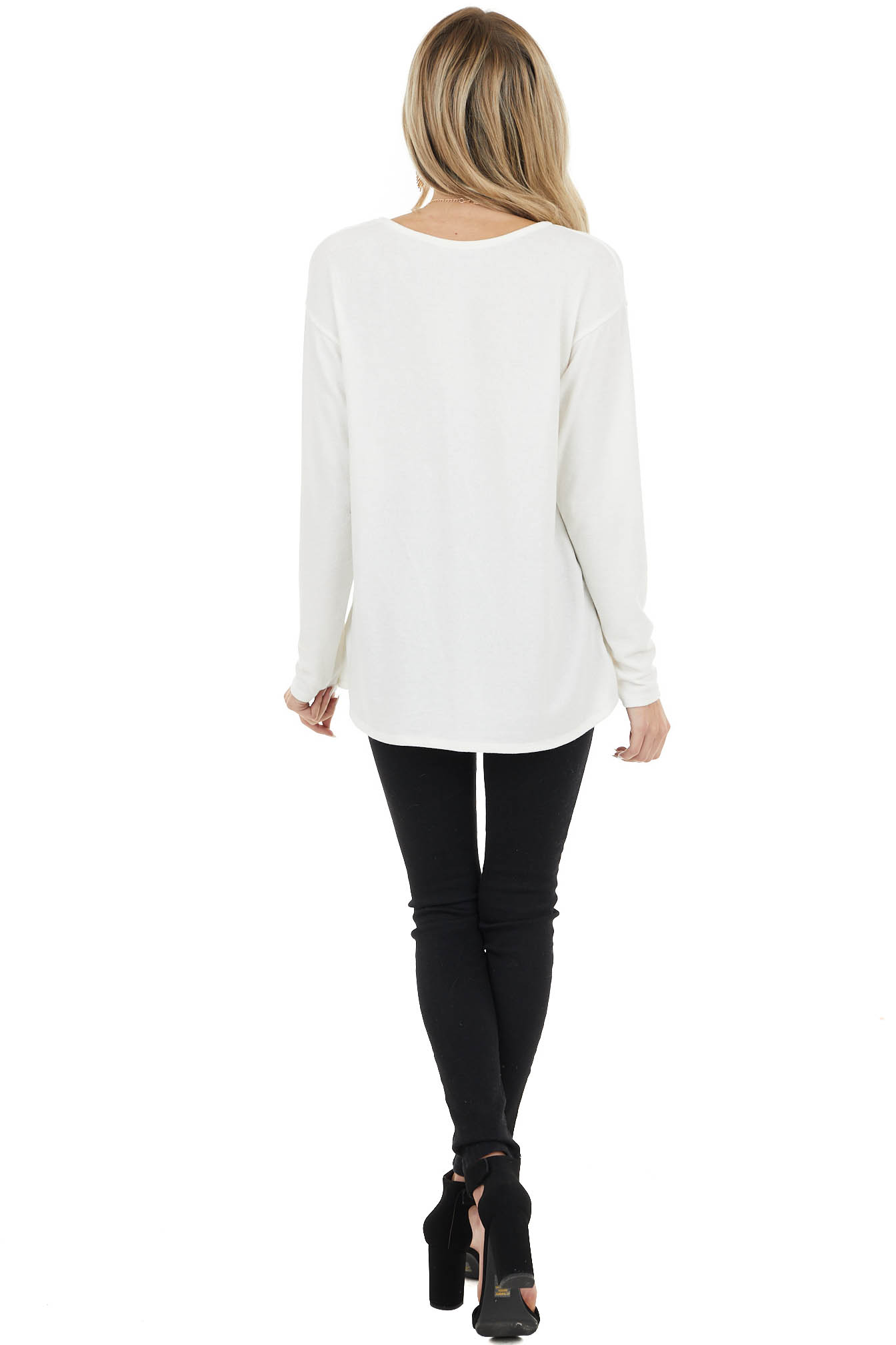 Ivory Long Sleeve Stretchy Knit Top with Rounded V Neckline