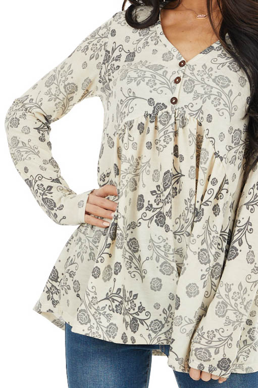 Cream and Charcoal Floral Print Top with Button Front Detail