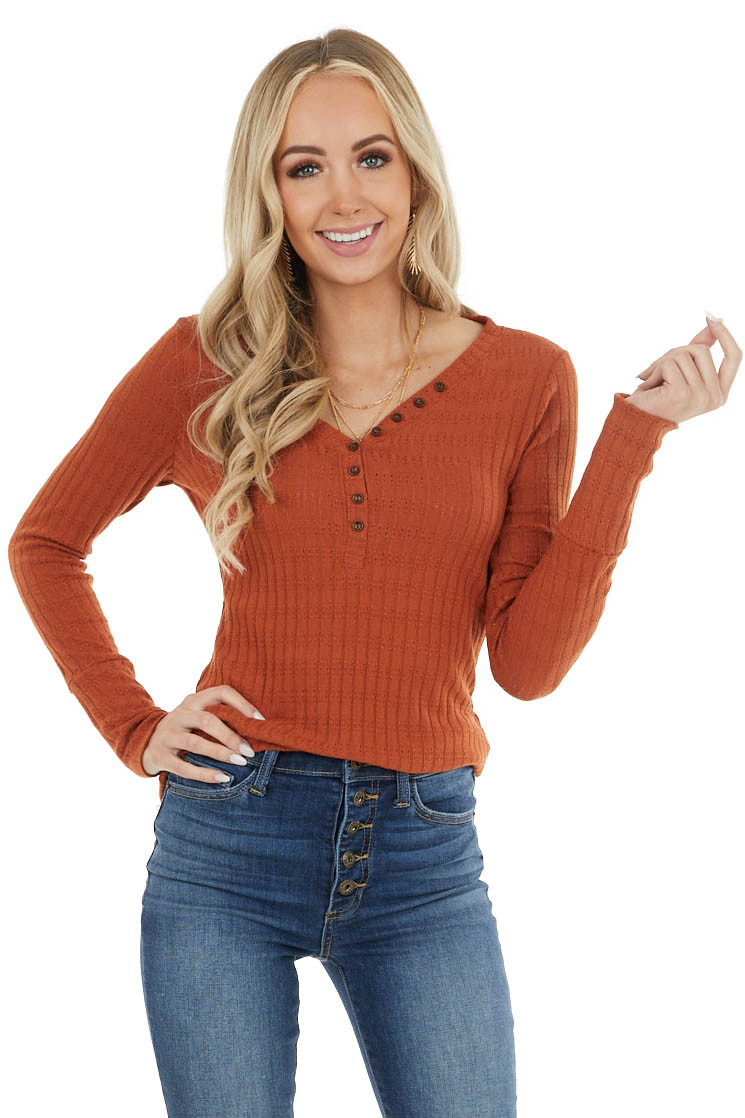 Rust Long Sleeve Ribbed Knit Top with Button Detail