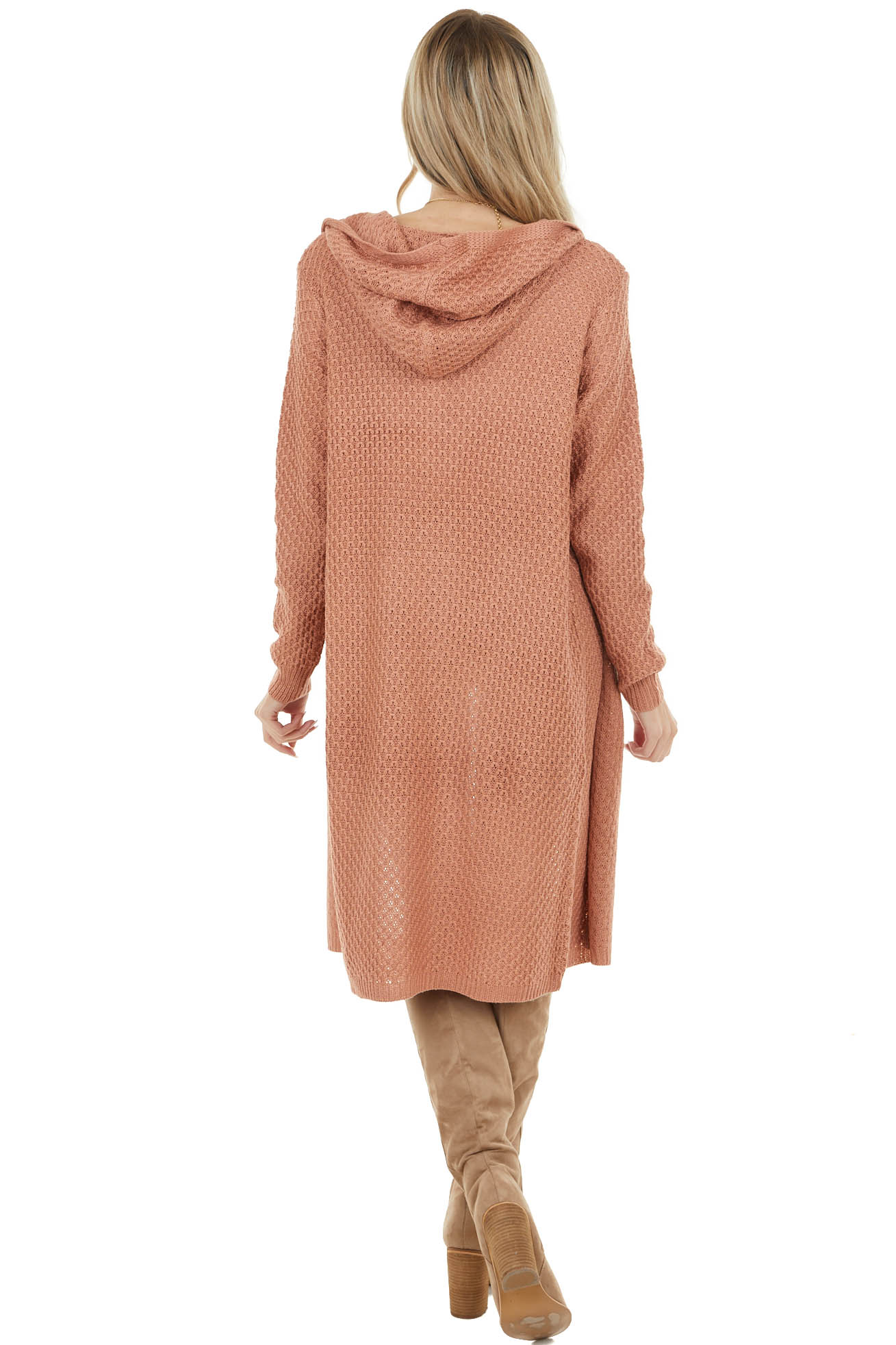 Dusty Coral Textured Loose Knit Duster Cardigan with Hood