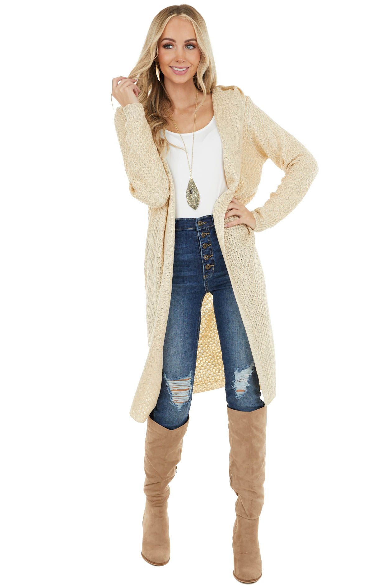 Light Beige Textured Loose Knit Duster Cardigan with Hood
