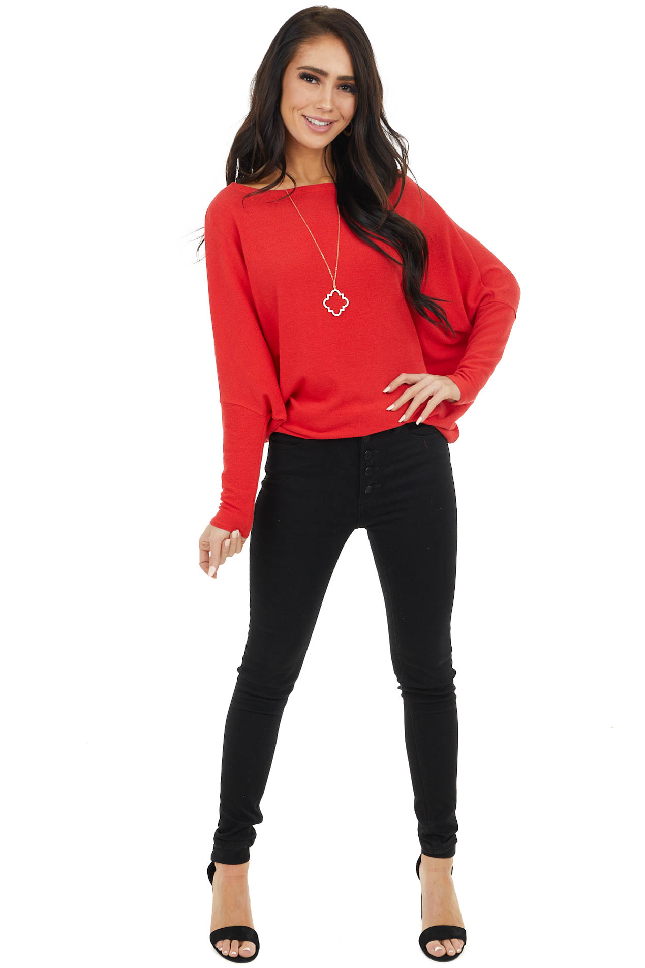 Crimson Round Neck Knit Top with Long Dolman Sleeves