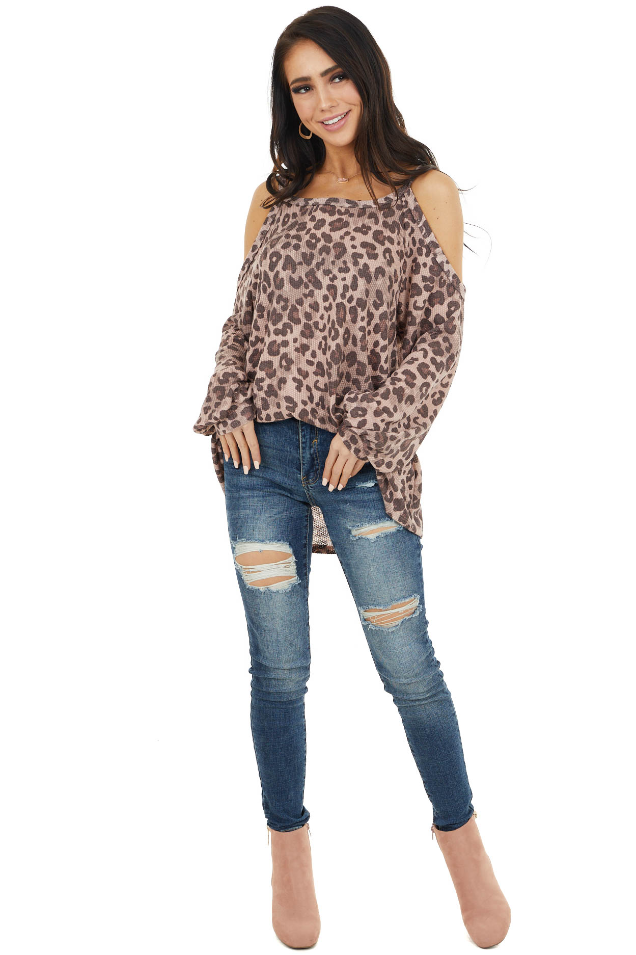 Dusty Rose Leopard Print Long Sleeve Cold Shoulder Top