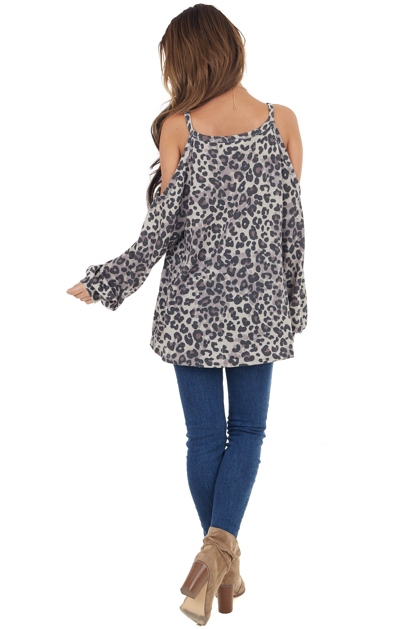 Oatmeal Leopard Print Long Sleeve Cold Shoulder Top