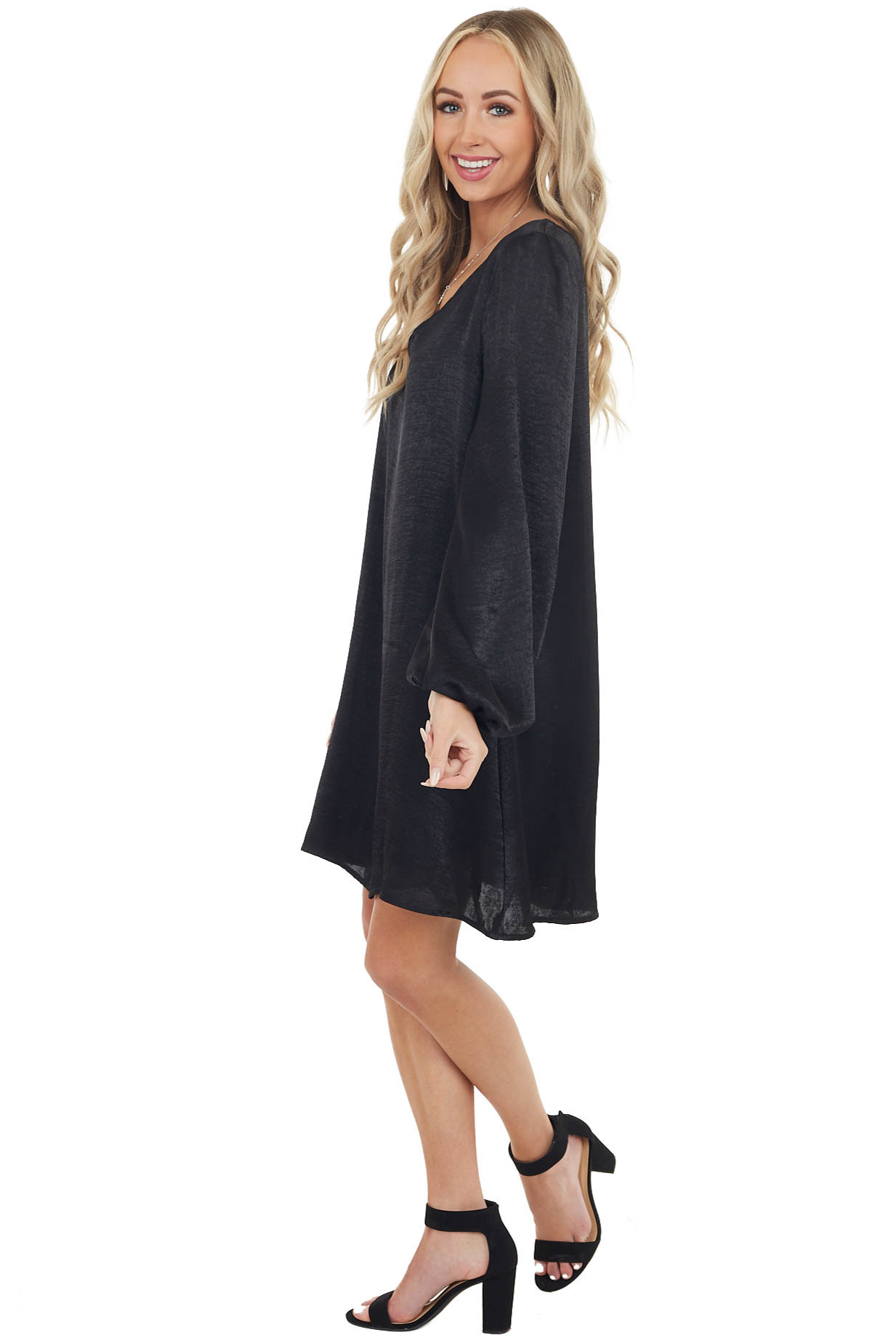 Black Satin Relaxed Fit Dress with Long Bubble Sleeves
