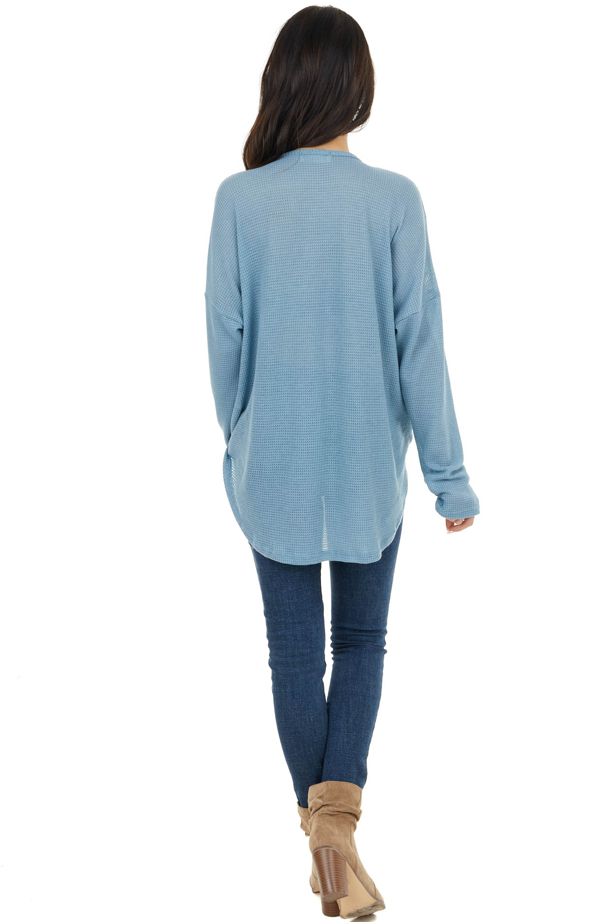 Powder Blue Waffle Knit Surplice Top with Criss Cross Detail