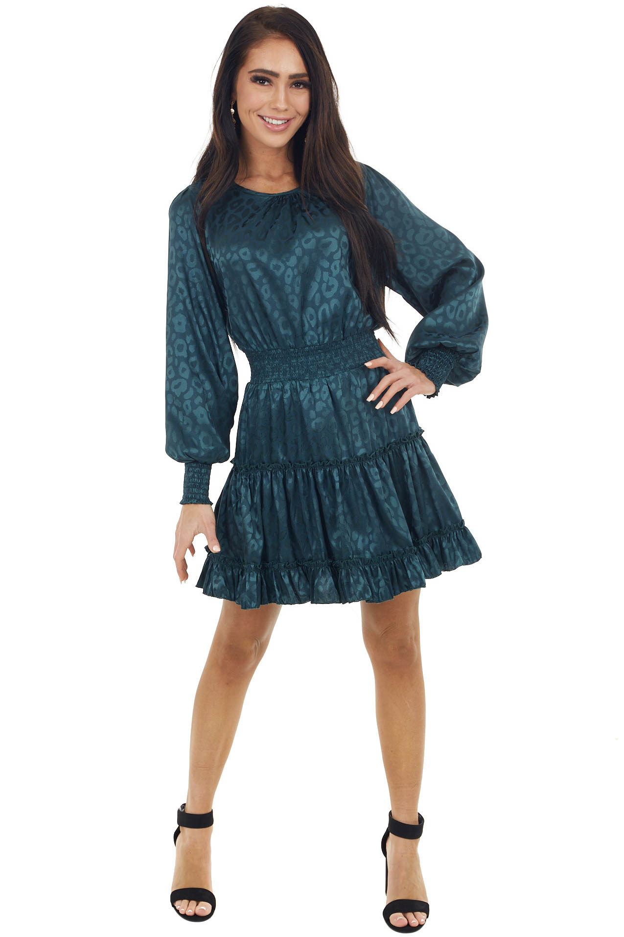 Dark Teal Leopard Print Satin Smocked Short Dress