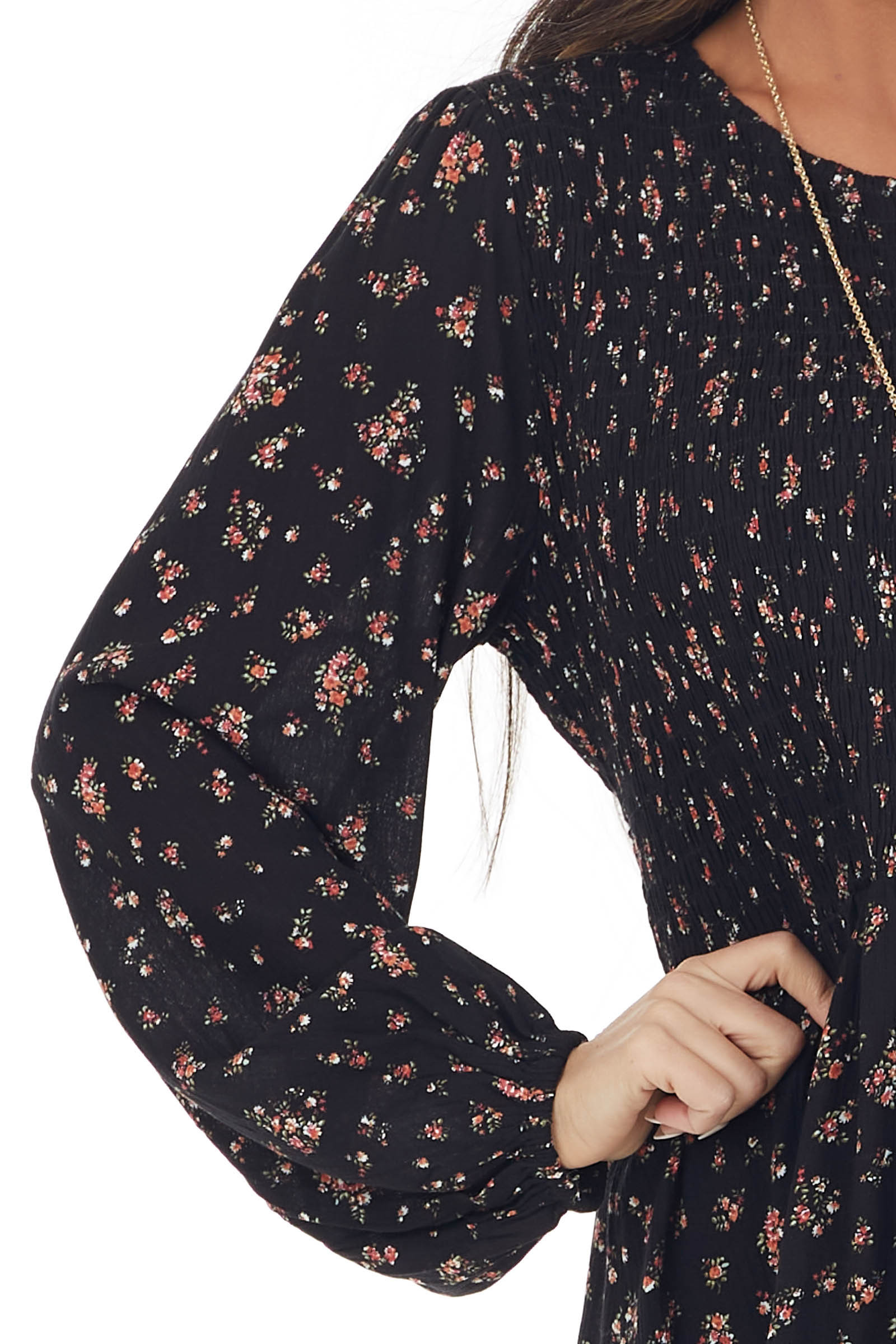 Black Floral Print Long Sleeve Smocked Woven Top