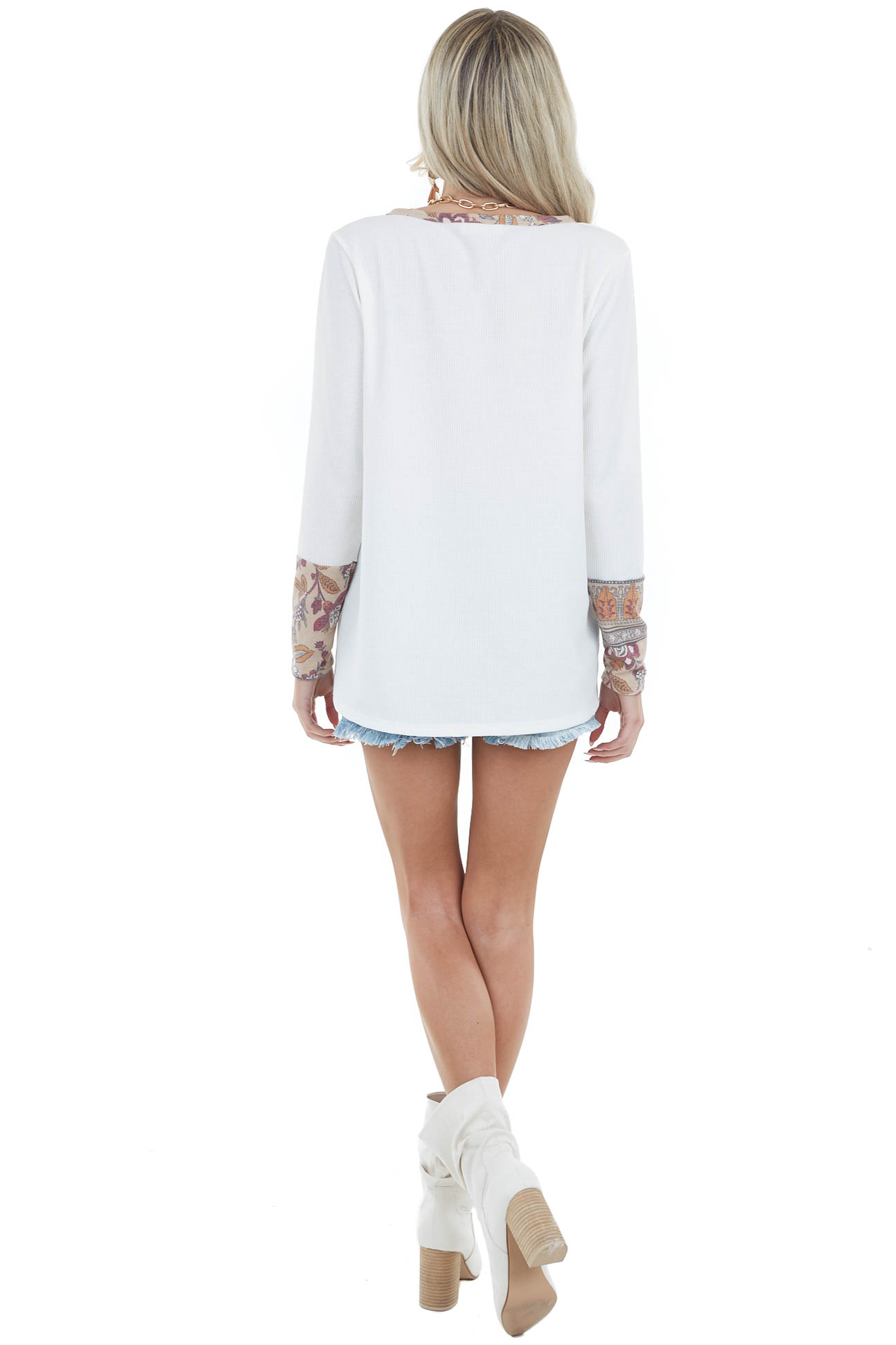 Off White Long Sleeve Top with Floral Print Contrast