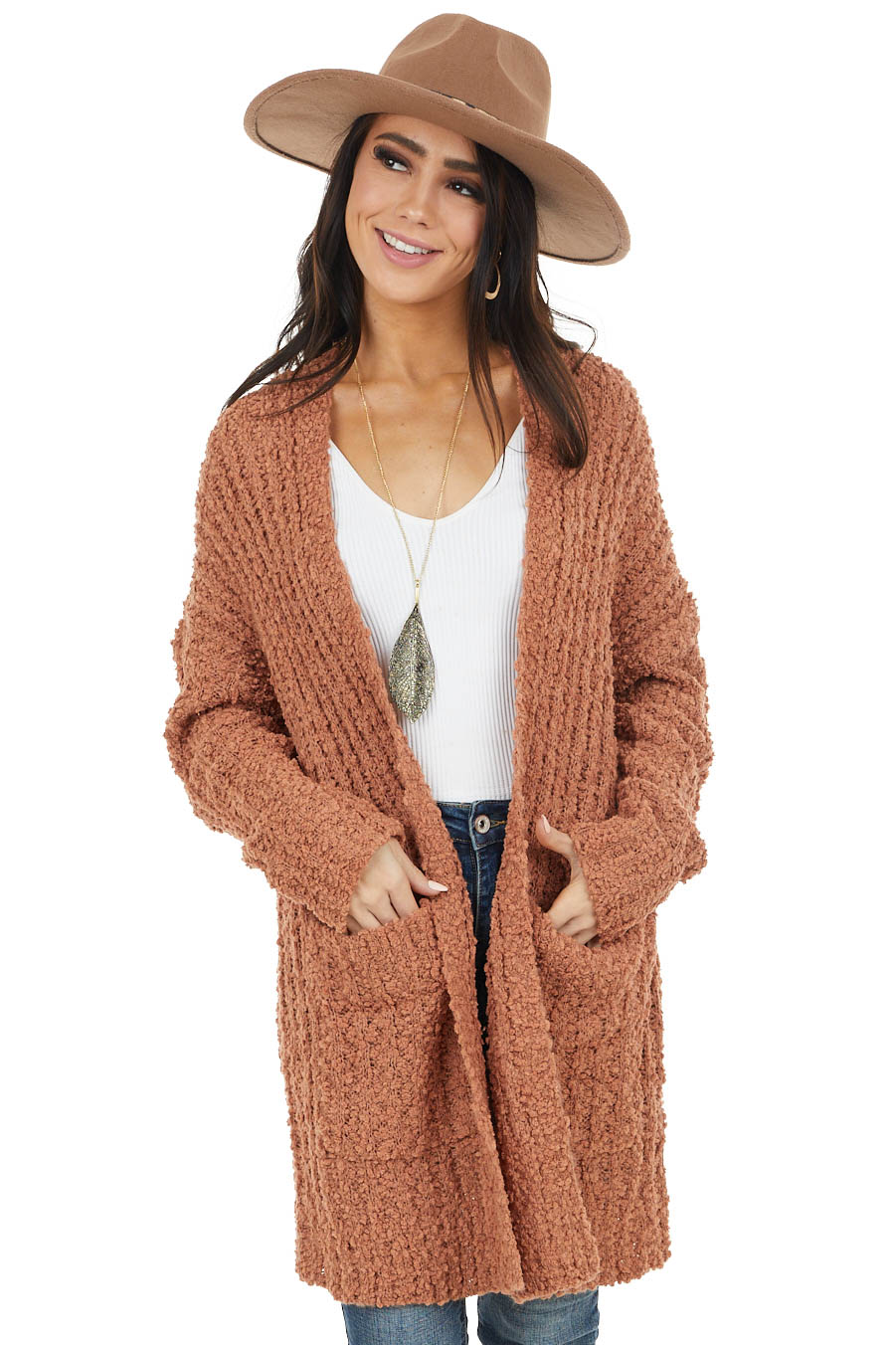 Cognac Popcorn Knit Open Front Cardigan with Pockets