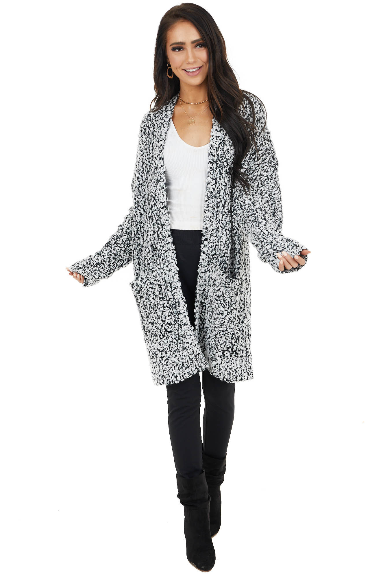 Black Popcorn Knit Open Front Cardigan with Pockets