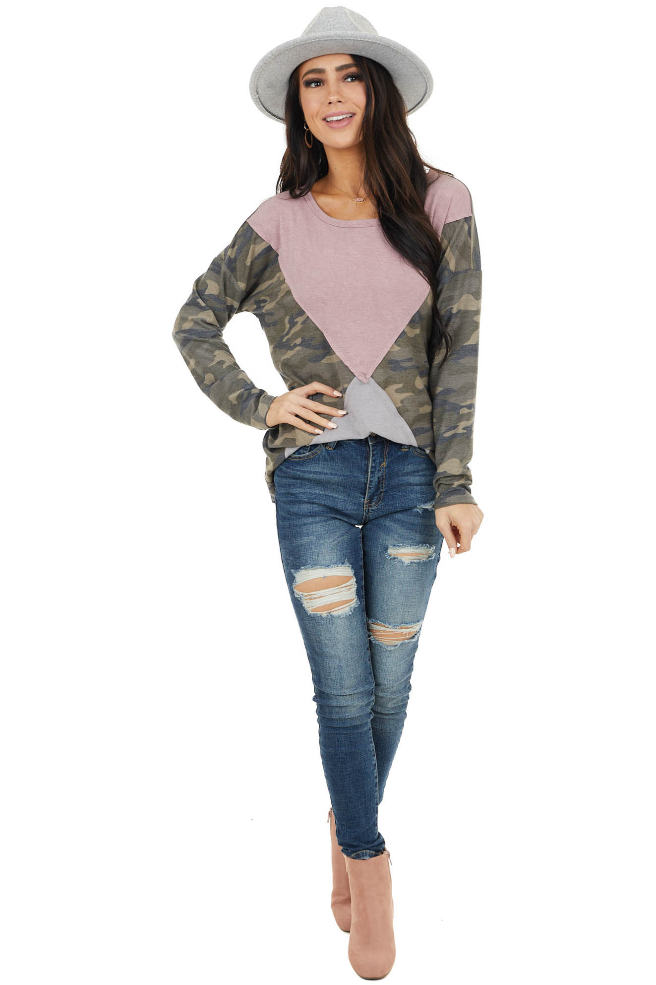Camo Colorblock Long Sleeve Knit Top with Raw Edge Detail