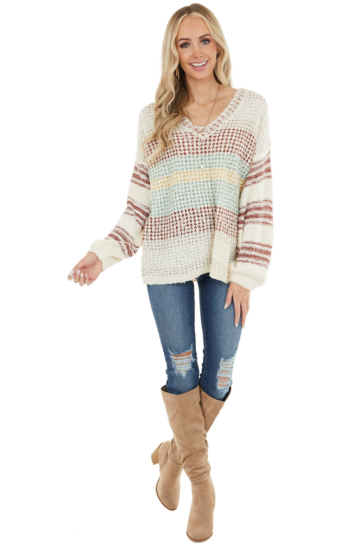 Sienna Oversize Long Sleeve Sweater with Multicolor Stripes