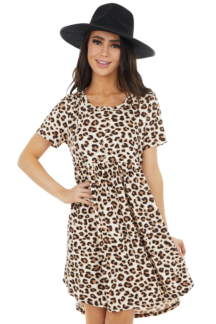 Ivory and Cognac Leopard Print Babydoll Short Sleeve Dress
