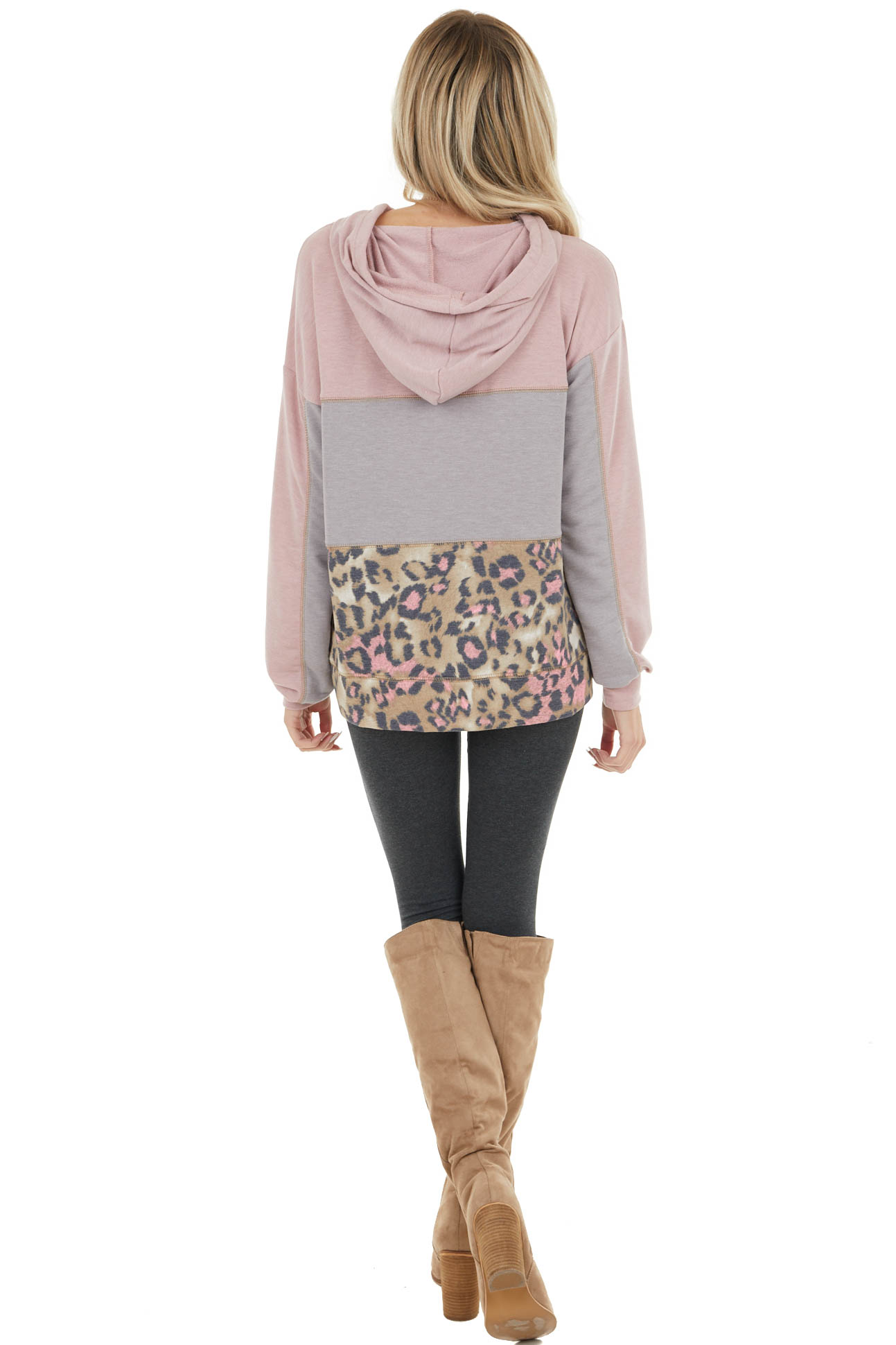 Dusty Rose Leopard Print Colorblock Lightweight Hoodie