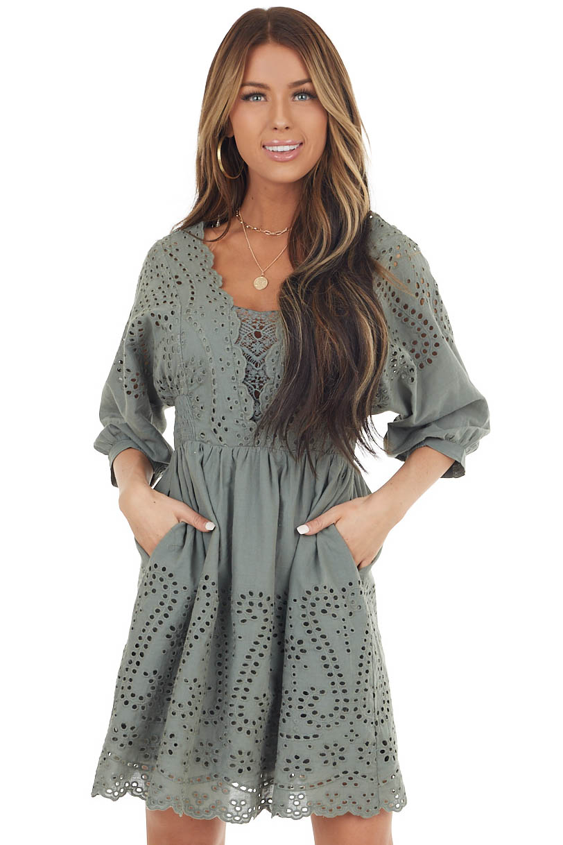 Sage Eyelet Short Dress with Pockets and Lace Detail