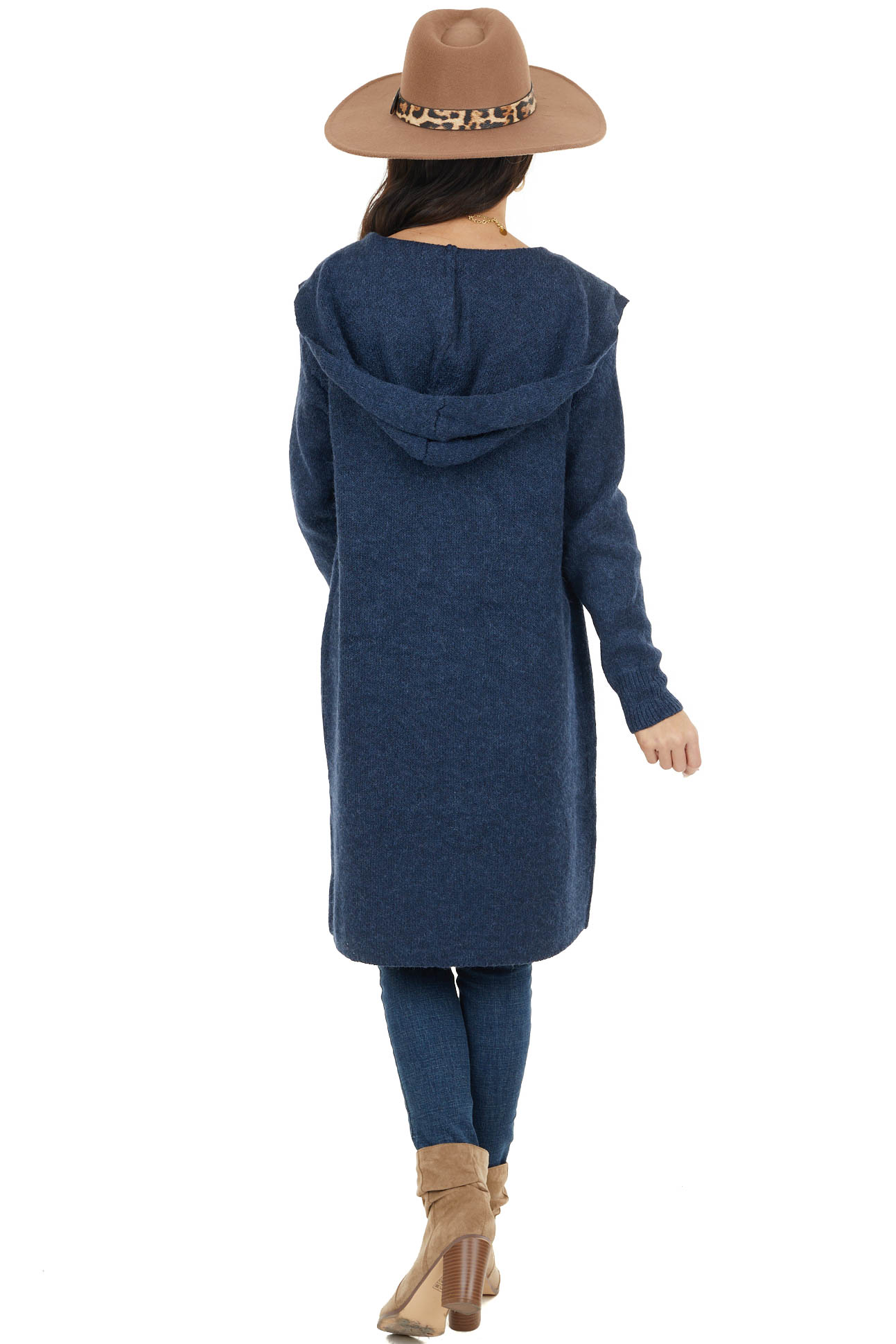 Navy Open Front Fuzzy Duster Cardigan with Hood and Pockets