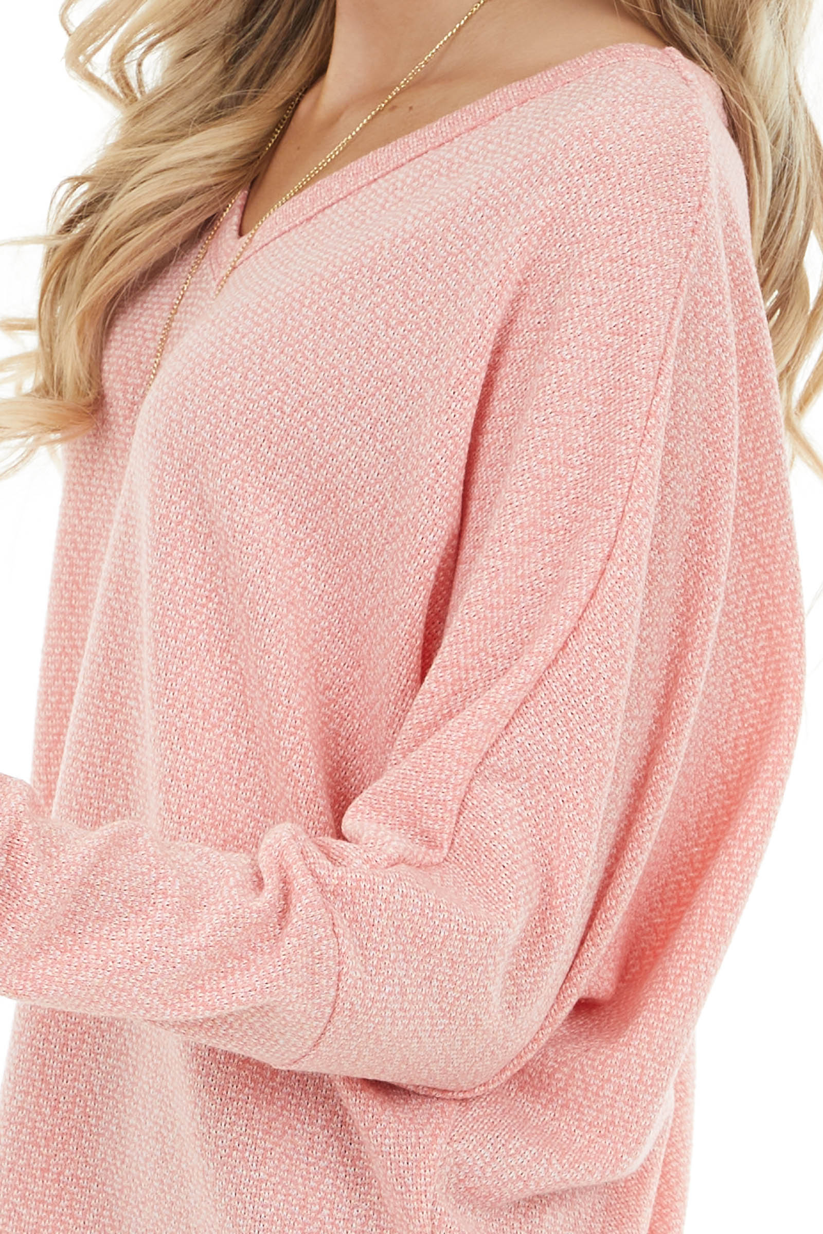 Heathered Coral V Neck Knit Top with Long Dolman Sleeves