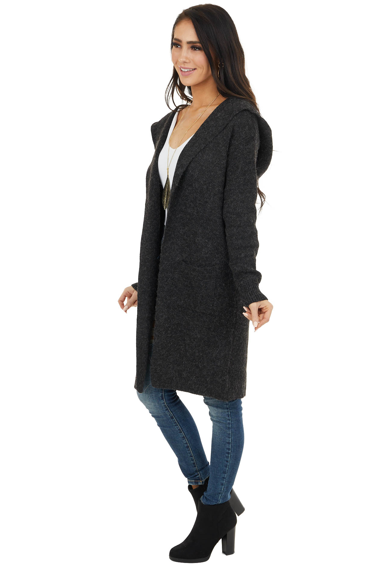 Black Open Front Fuzzy Duster Cardigan with Hood and Pockets