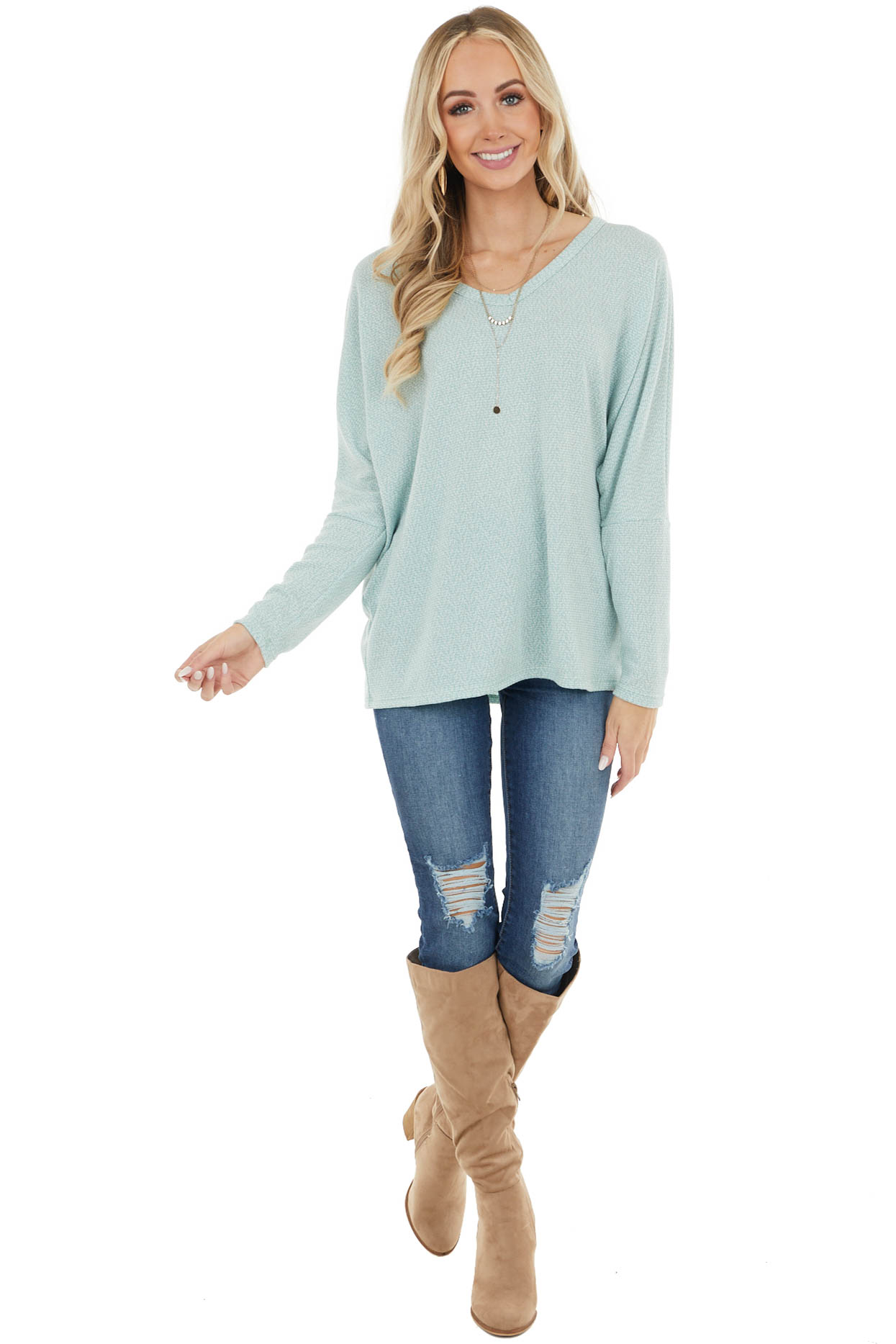 Heathered Teal V Neck Knit Top with Long Dolman Sleeves