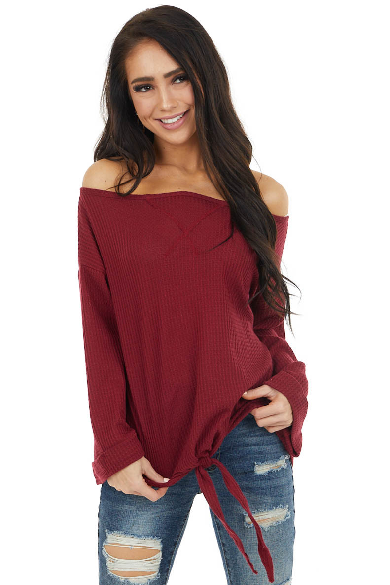 Burgundy Long Sleeve Waffle Knit Top with Front Tie Detail