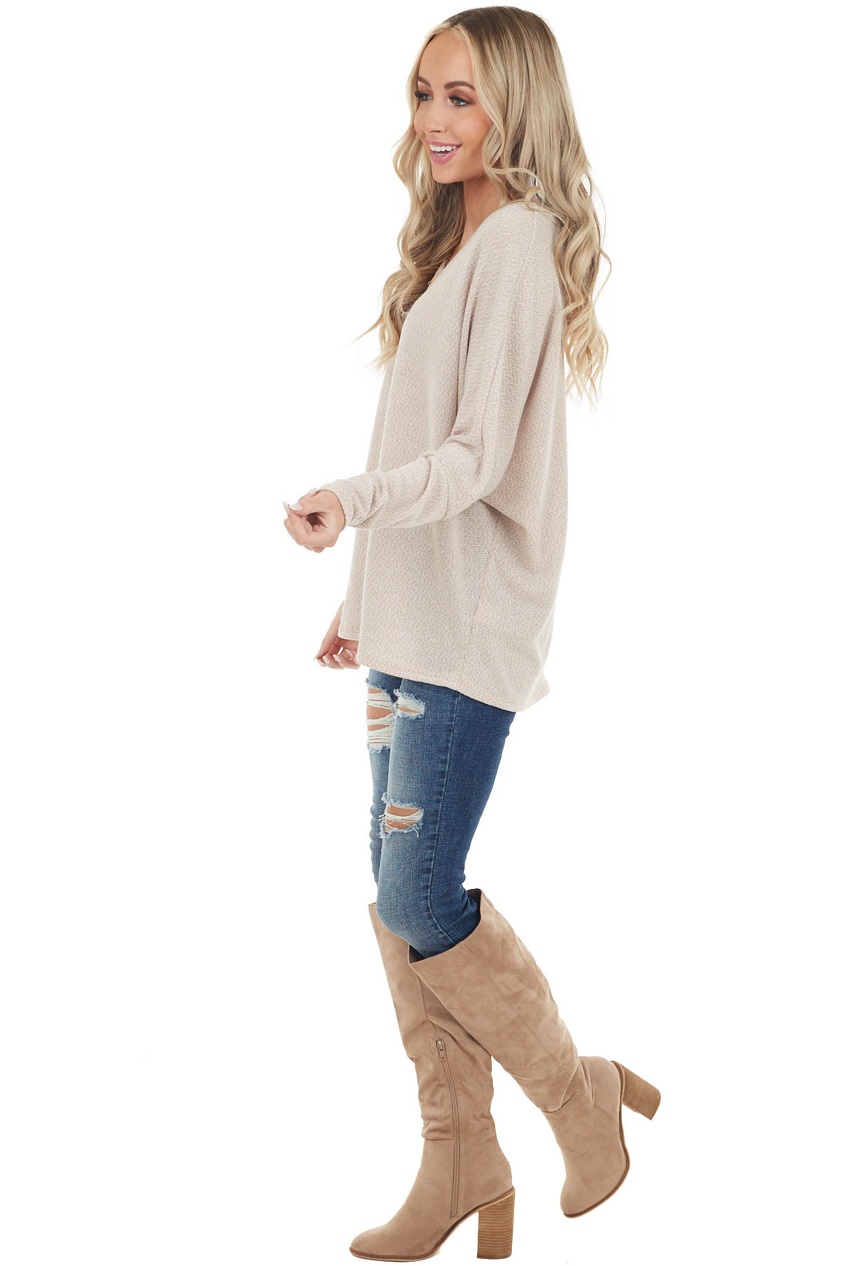 Heathered Oatmeal V Neck Knit Top with Long Dolman Sleeves