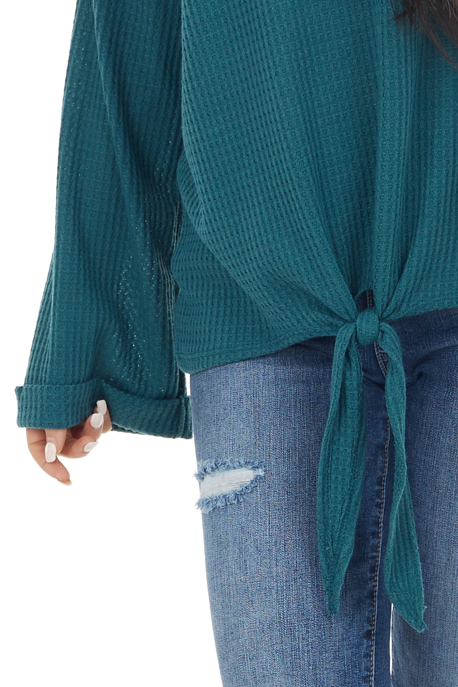 Pine Long Sleeve Waffle Knit Top with Front Tie Detail