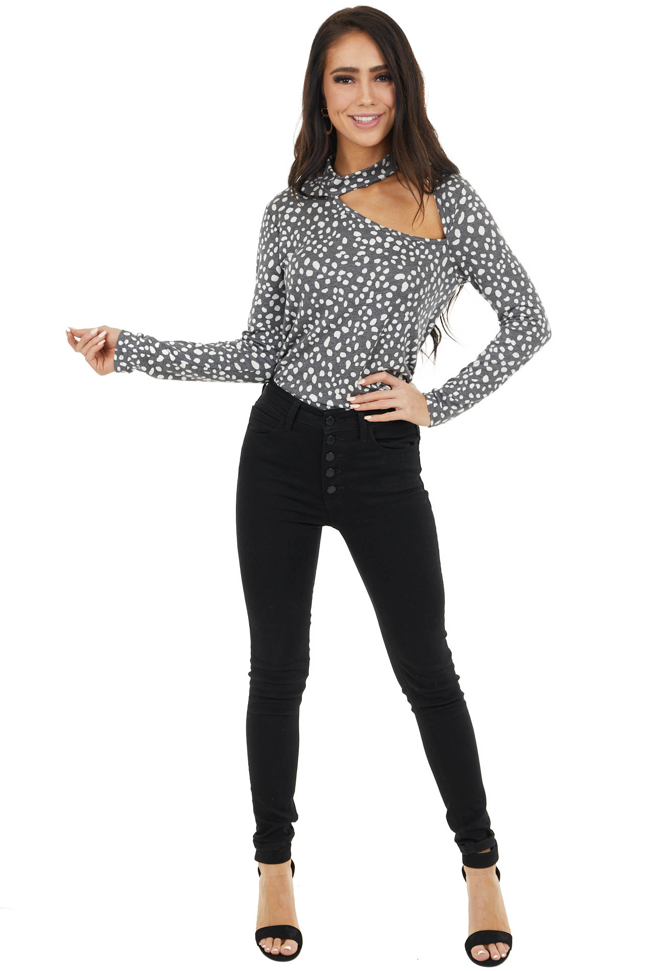 Charcoal Grey Long Sleeve Printed Knit Top with Cut Out