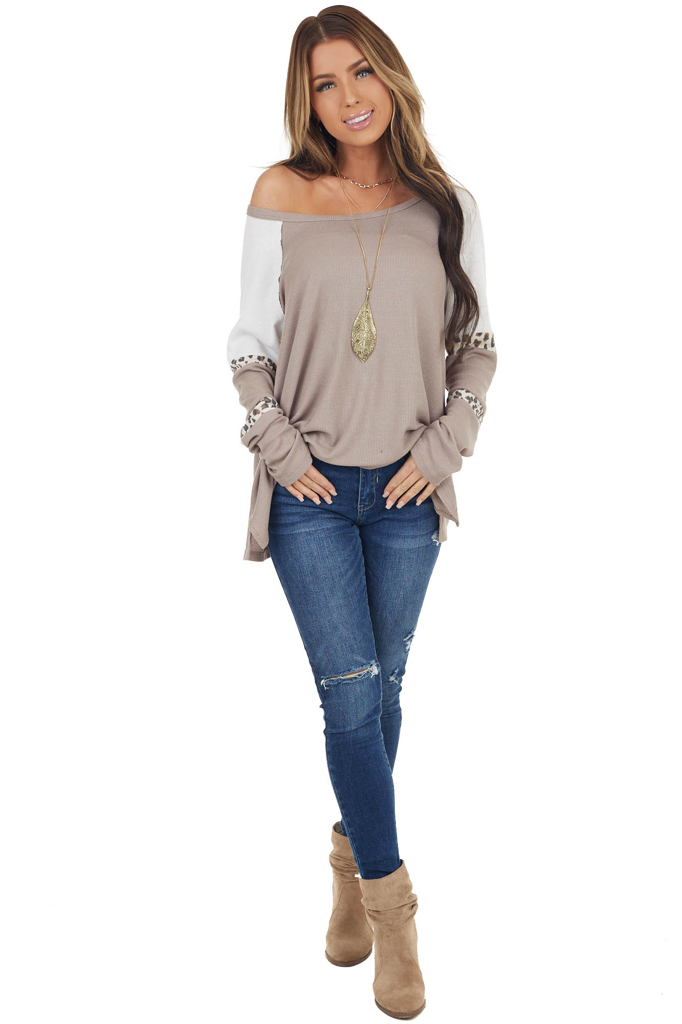 Taupe Long Sleeve Knit Top with Leopard Contrast Bands