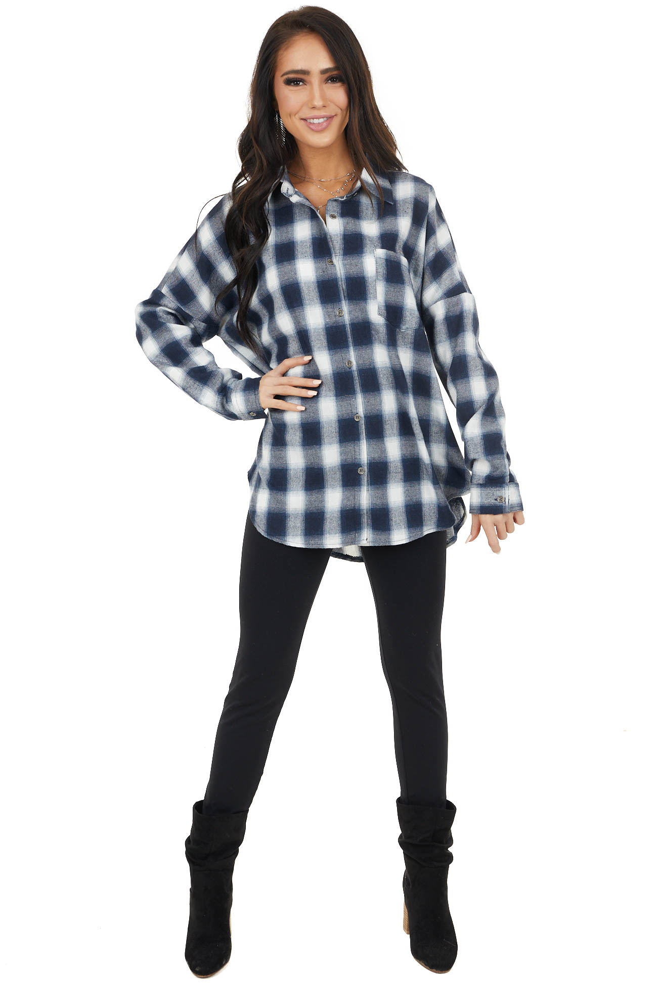 Navy and Ivory Plaid Flannel Long Sleeve Button Up Top