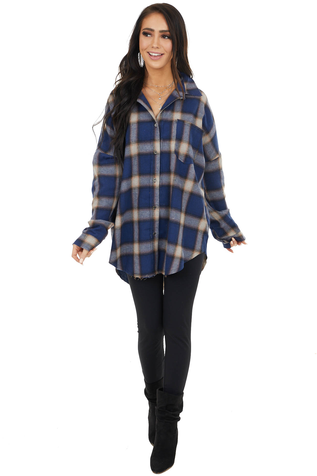 Navy Flannel Button Up Top with Split Seam Details