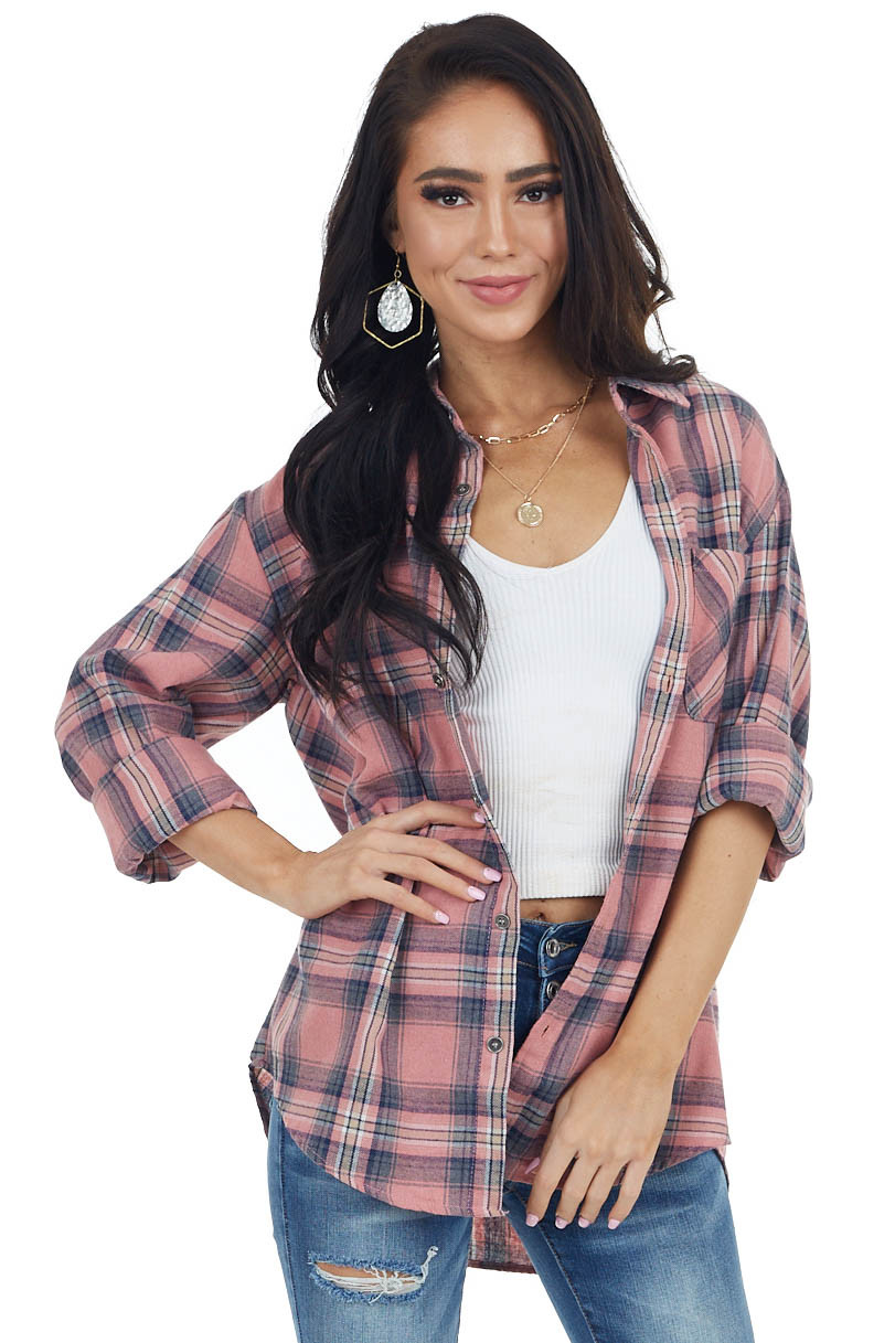 Faded Coral Plaid Long Sleeve Flannel Top with Button Detail