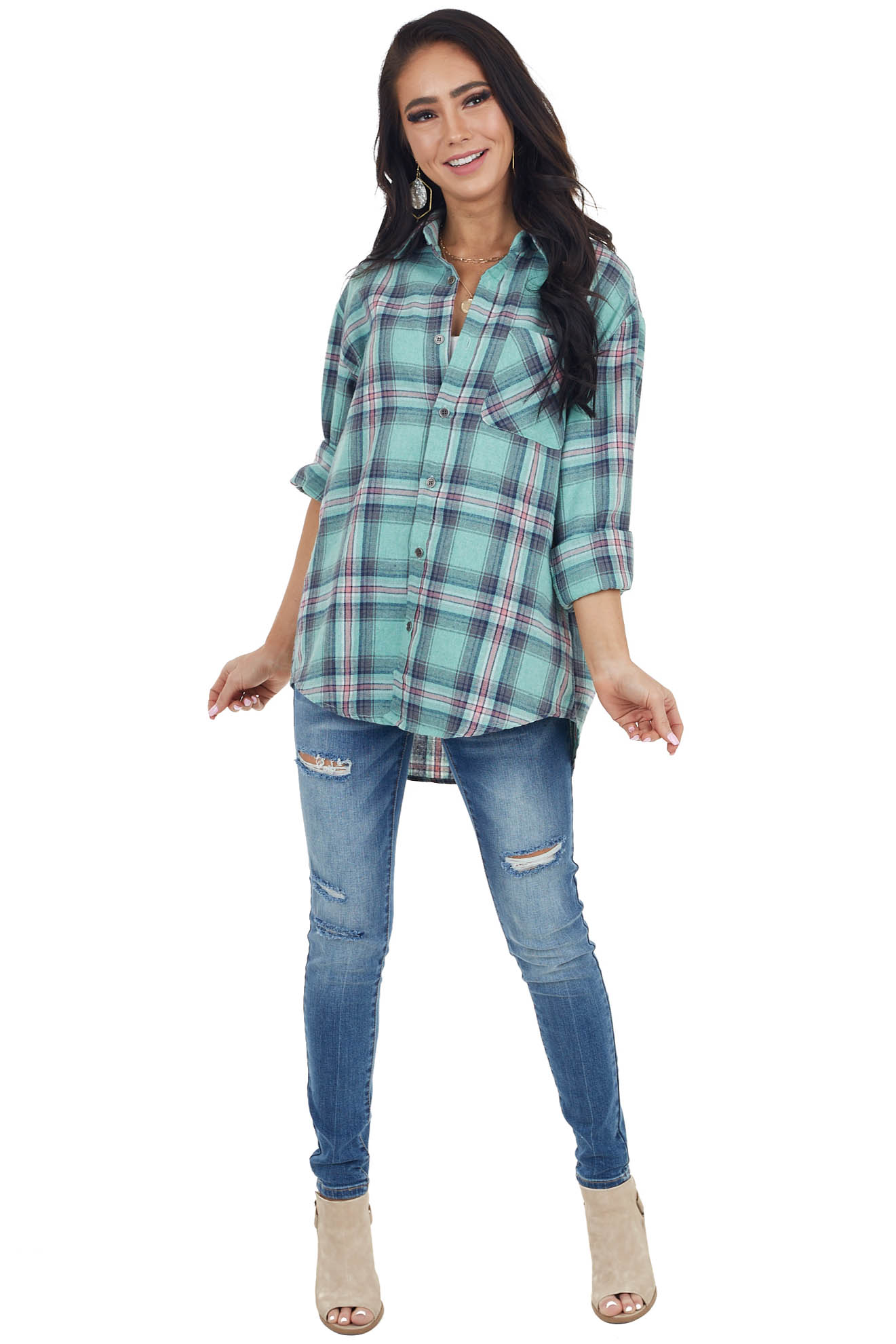 Faded Jade Plaid Long Sleeve Flannel Top with Button Detail