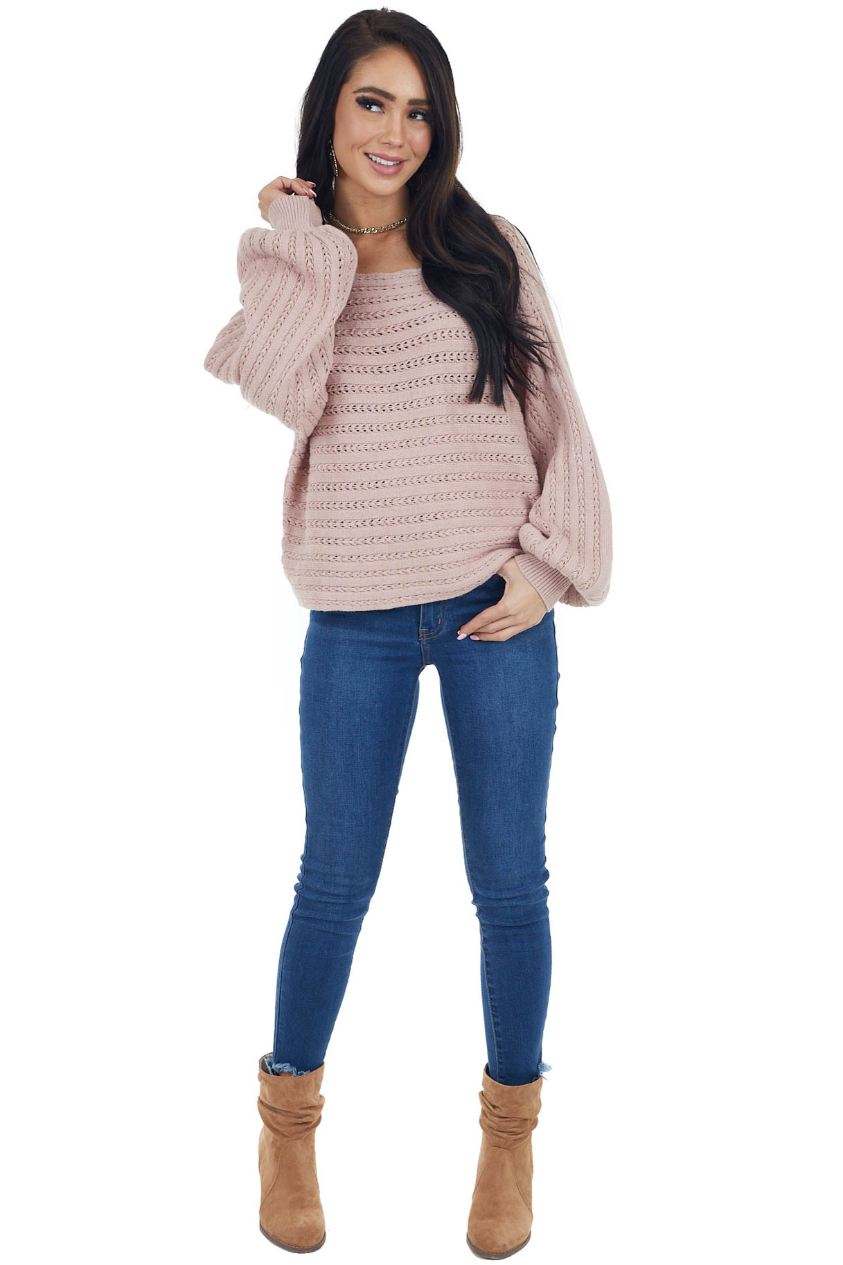 Dusty Blush Long Sleeve Textured Sweater