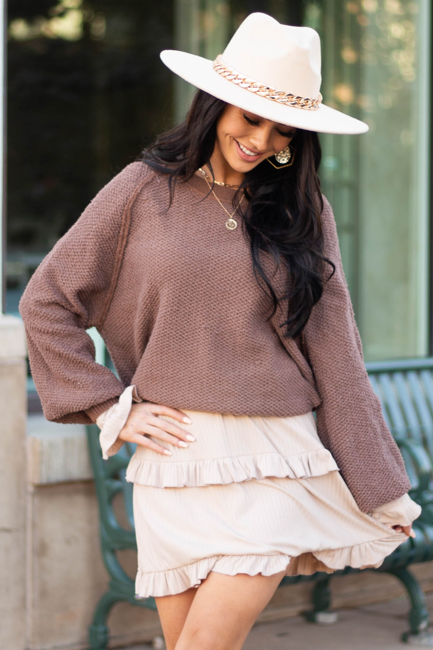 Chocolate Long Sleeve Lightweight Sweater with Raw Details